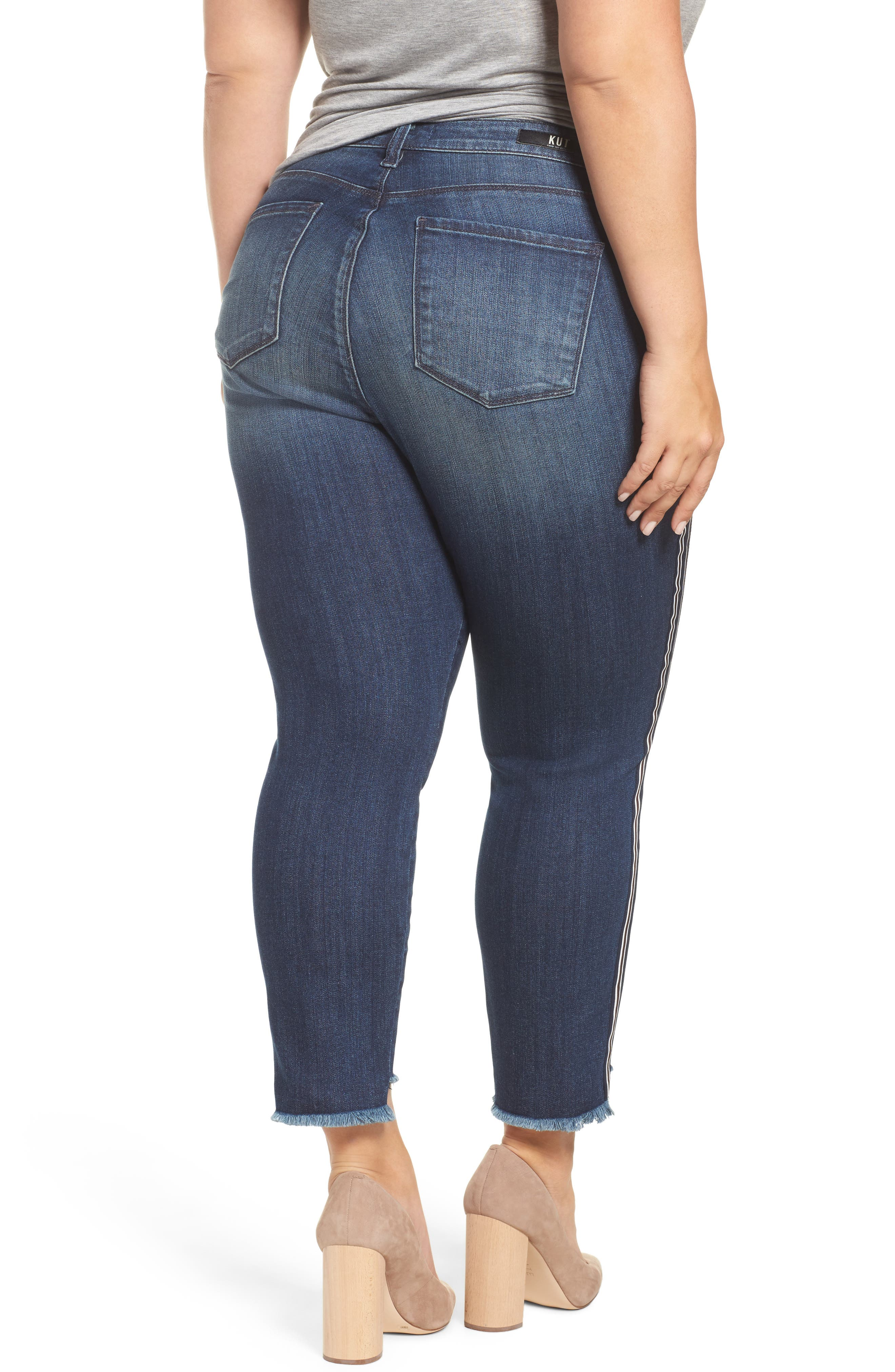 Alternate Image 2  - KUT from the Kloth Reese Side Stripe Uneven Ankle Jeans (Analyzed) (Plus Size)