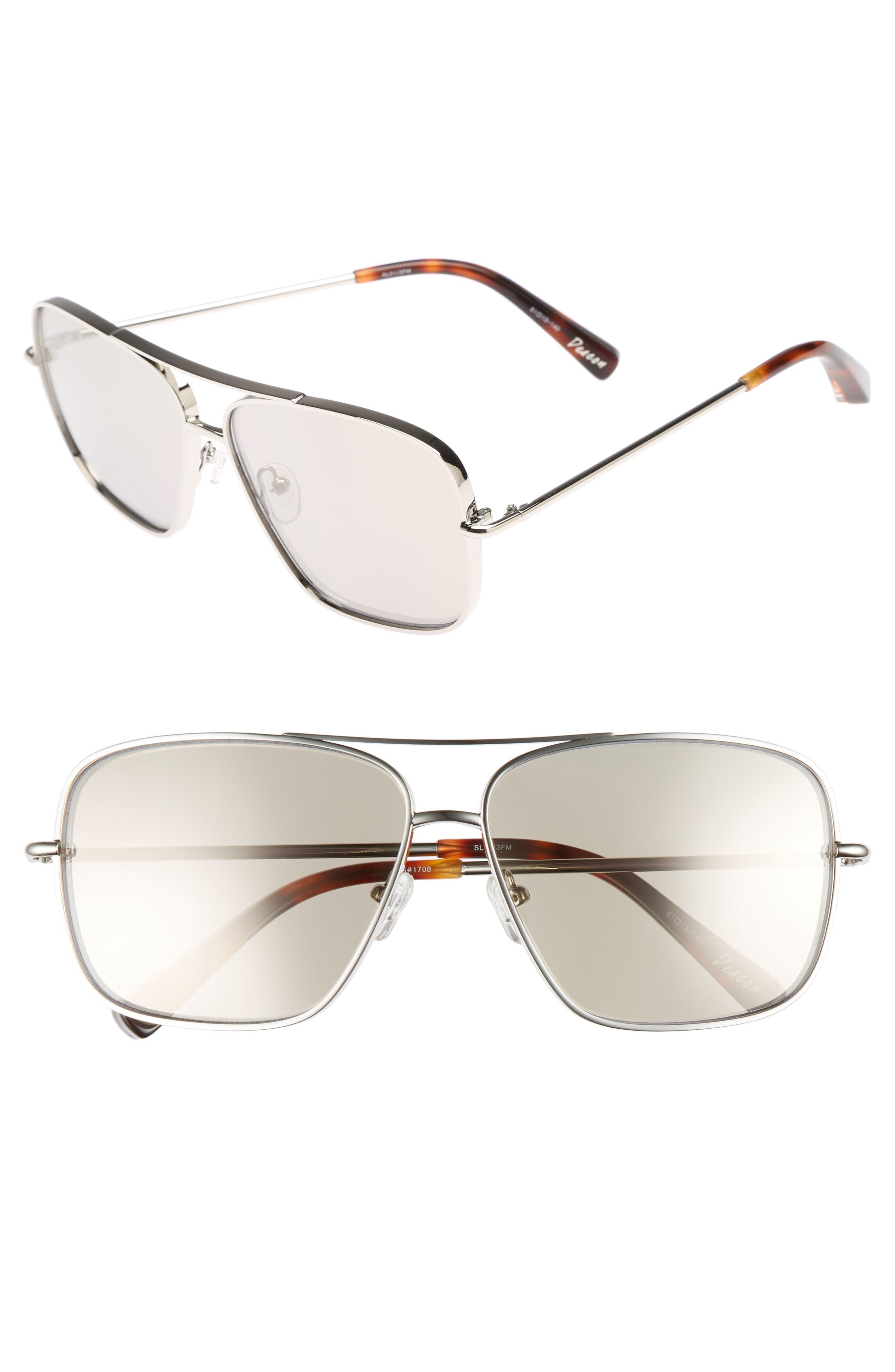 Deacon 61mm Aviator Sunglasses,                         Main,                         color, Silver