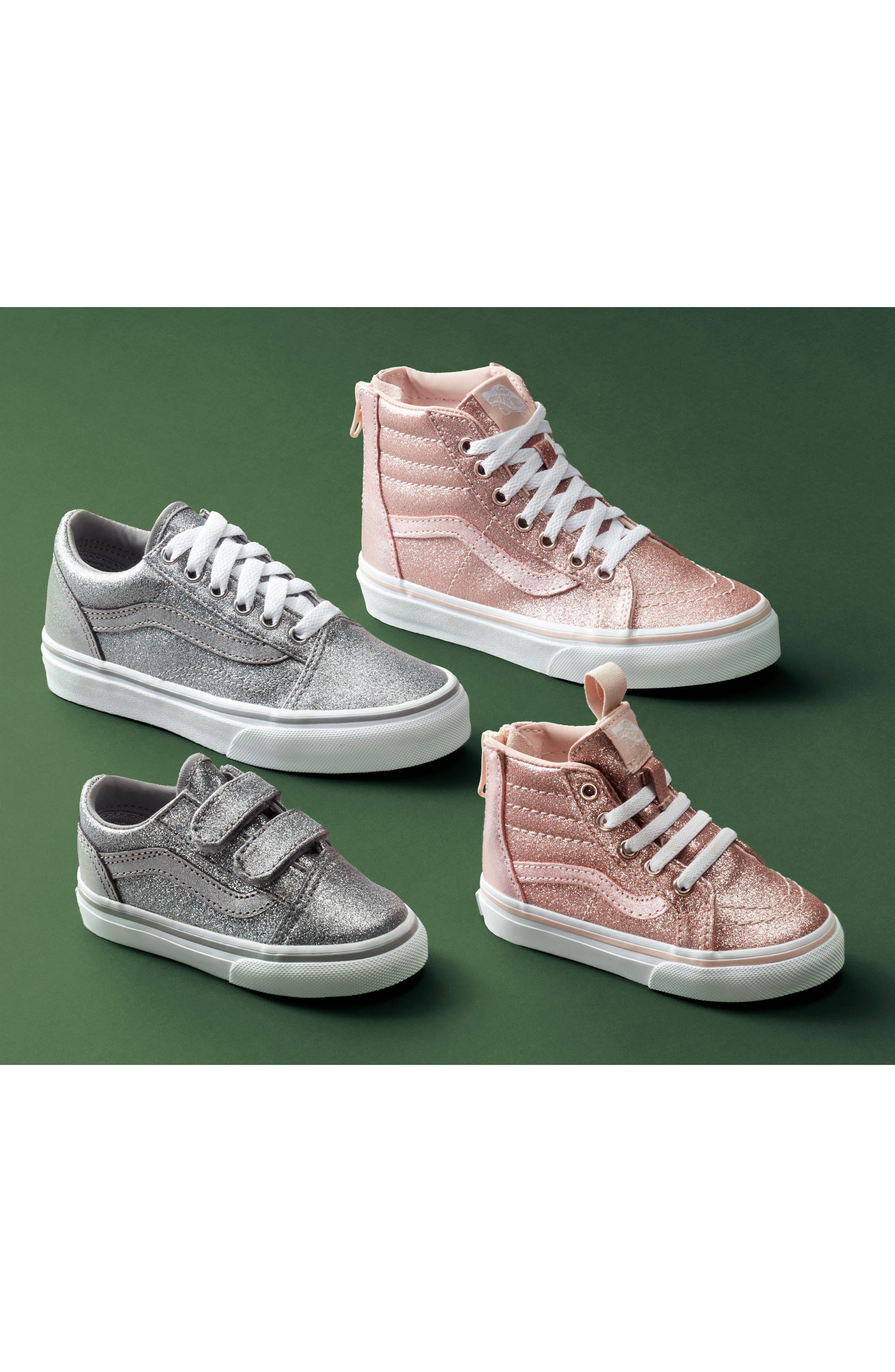 Old Skool V Glitter Sneaker,                             Alternate thumbnail 7, color,