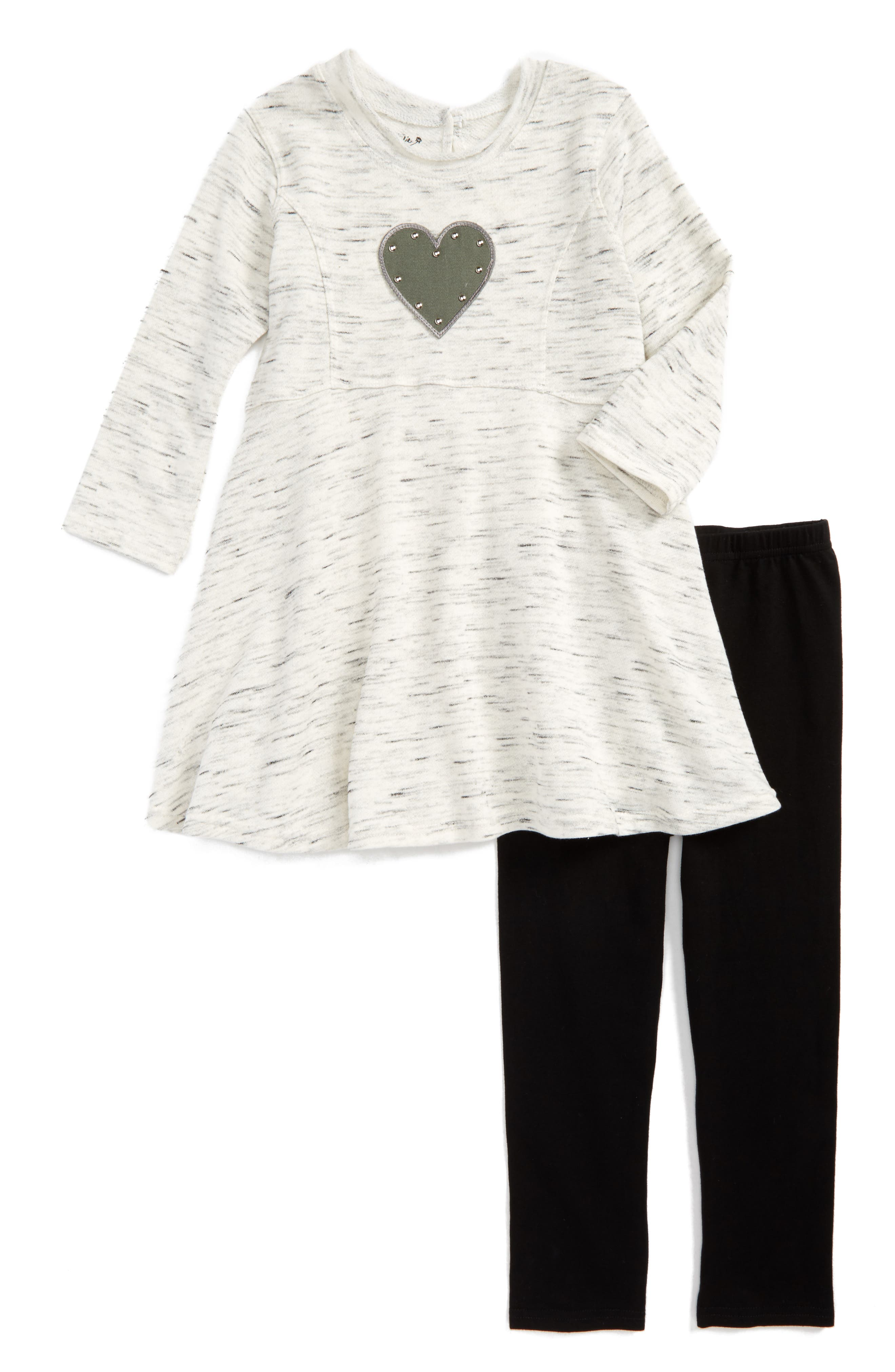 Main Image - Pippa & Julie Studded Heart Dress & Leggings (Baby Girls & Toddler Girls)