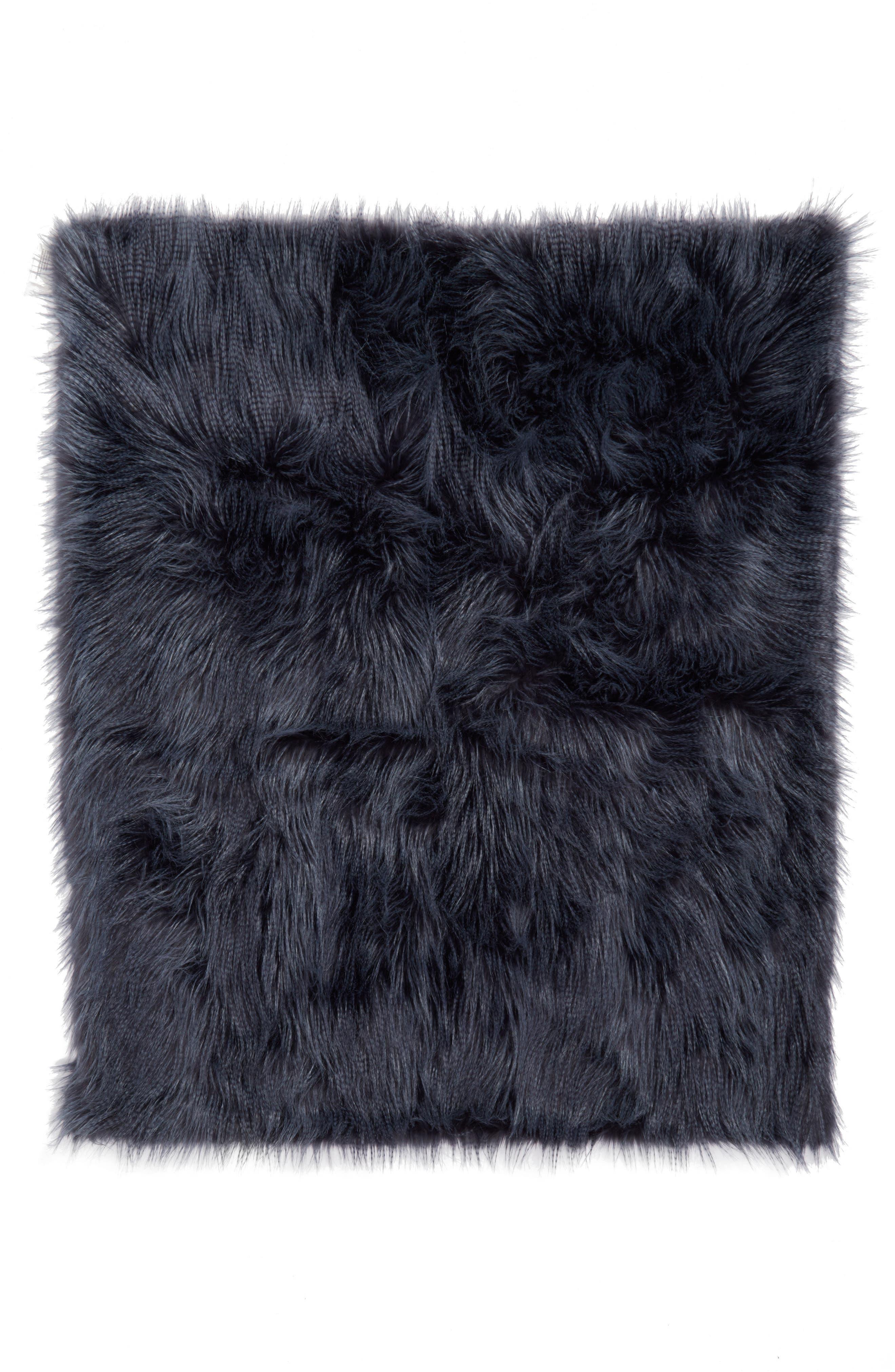 Fauna Faux Fur Throw Blanket,                         Main,                         color, Navy Armada