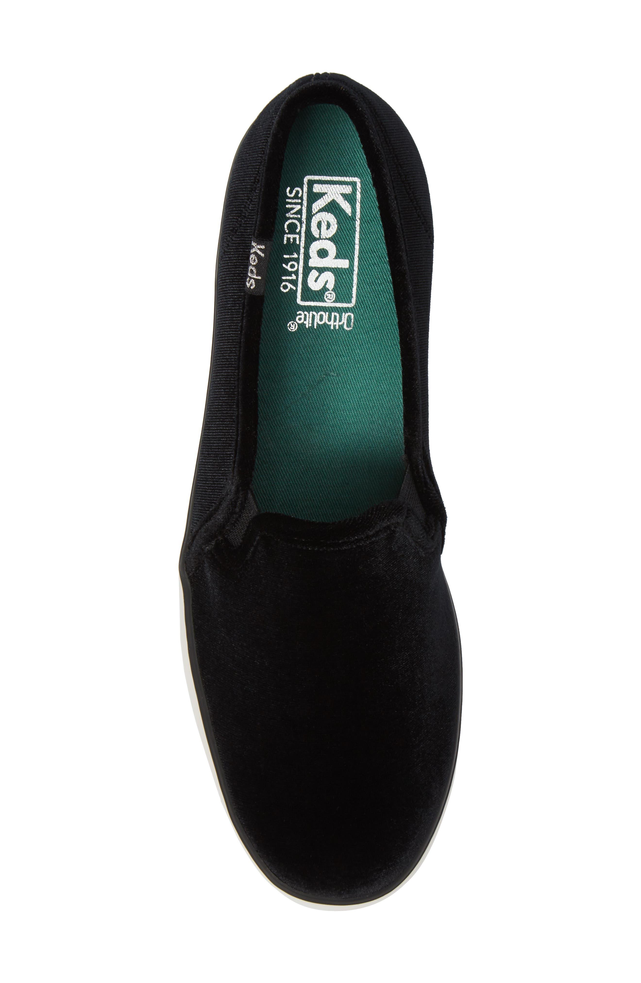 Triple Decker Slip-On Platform Sneaker,                             Alternate thumbnail 5, color,                             Black Velvet