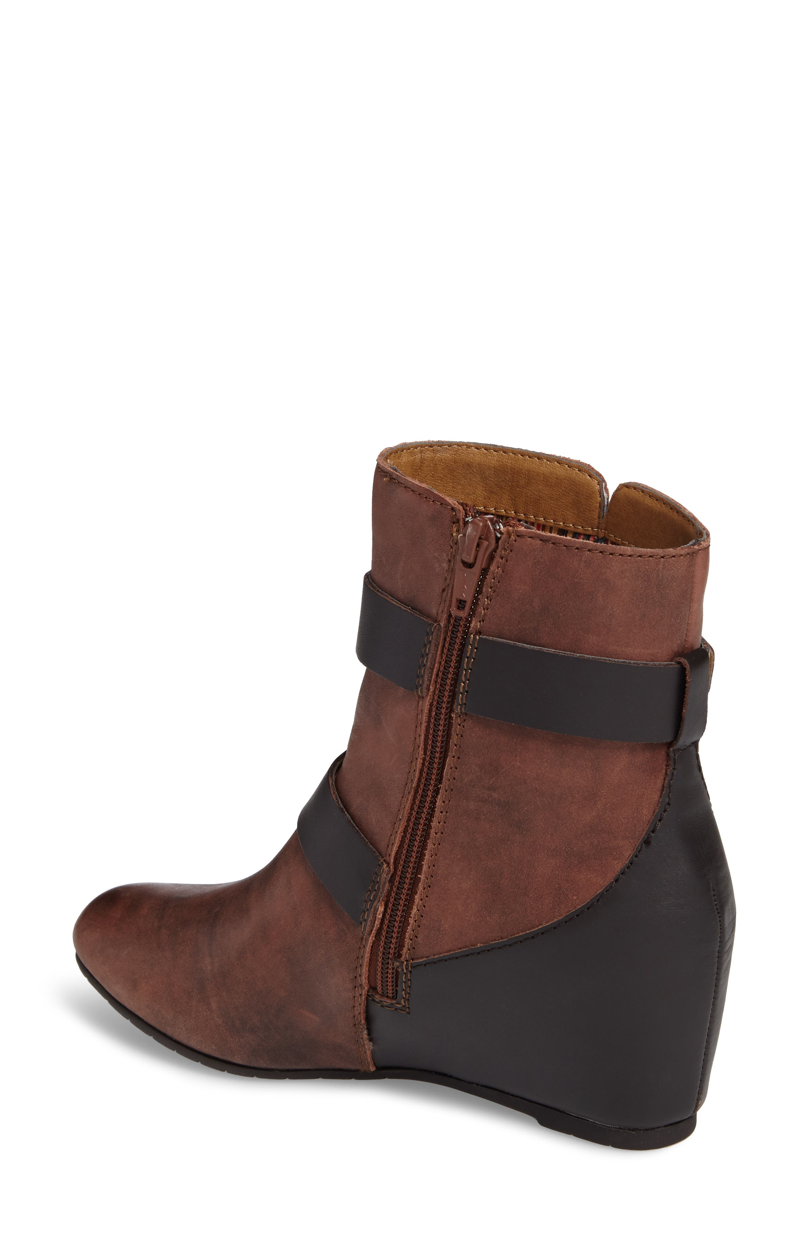 Ramika Wedge Bootie,                             Alternate thumbnail 2, color,                             Mahogany Leather