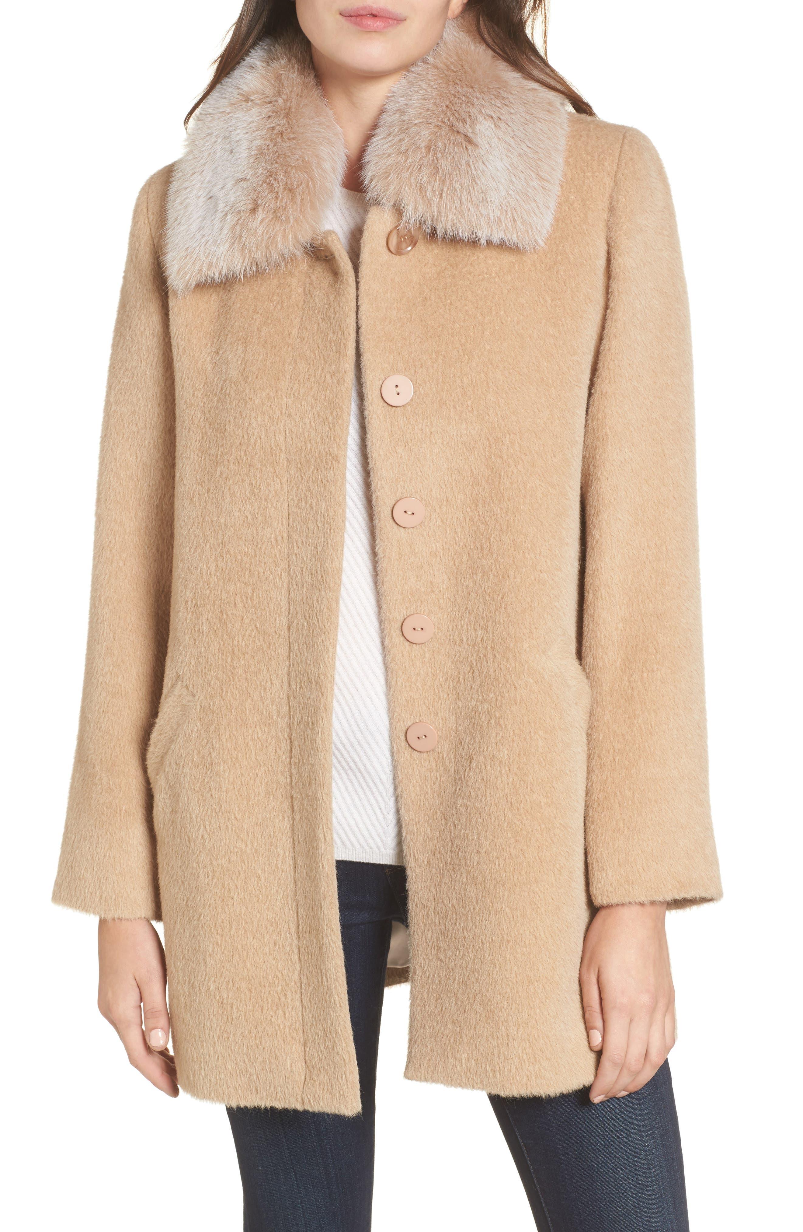 Sofia Cashmere Wool & Alpaca Car Coat with Genuine Fox Fur Club Collar