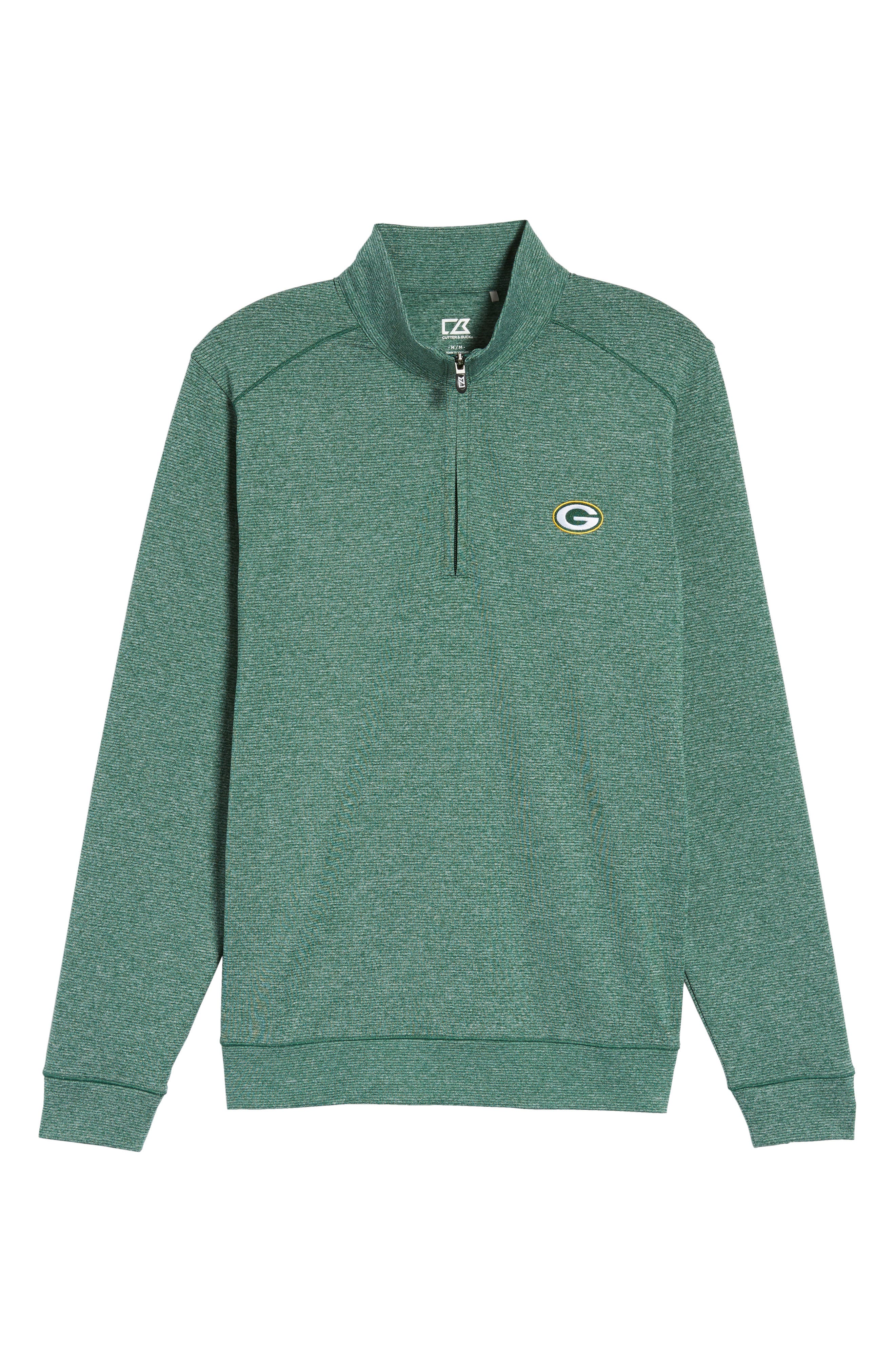 Shoreline - Green Bay Packers Half Zip Pullover,                             Alternate thumbnail 6, color,                             Hunter Heather