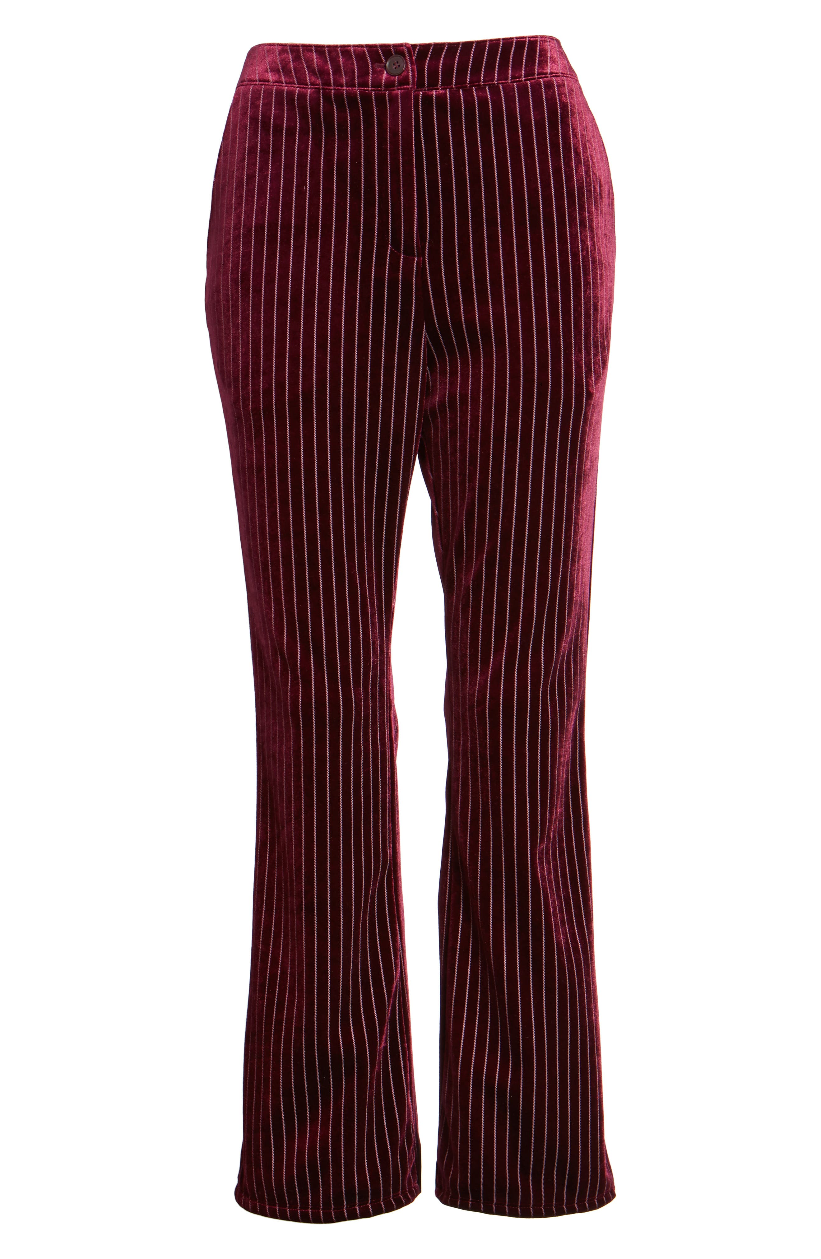 Velour Ankle Trousers,                             Alternate thumbnail 6, color,                             Red Tannin Dotted Stripe