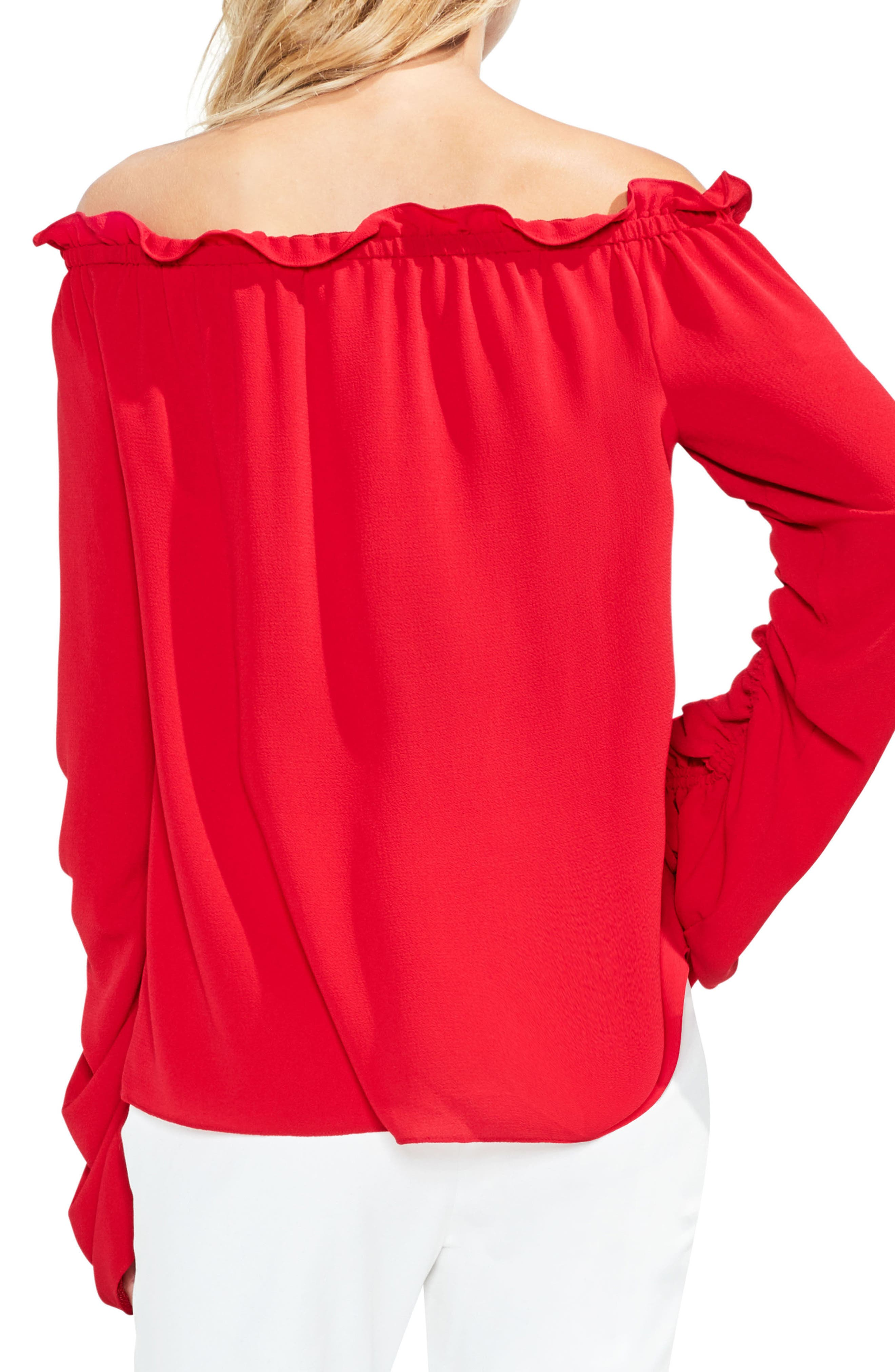 Off the Shoulder Ruched Sleeve Blouse,                             Alternate thumbnail 2, color,                             True Crimson