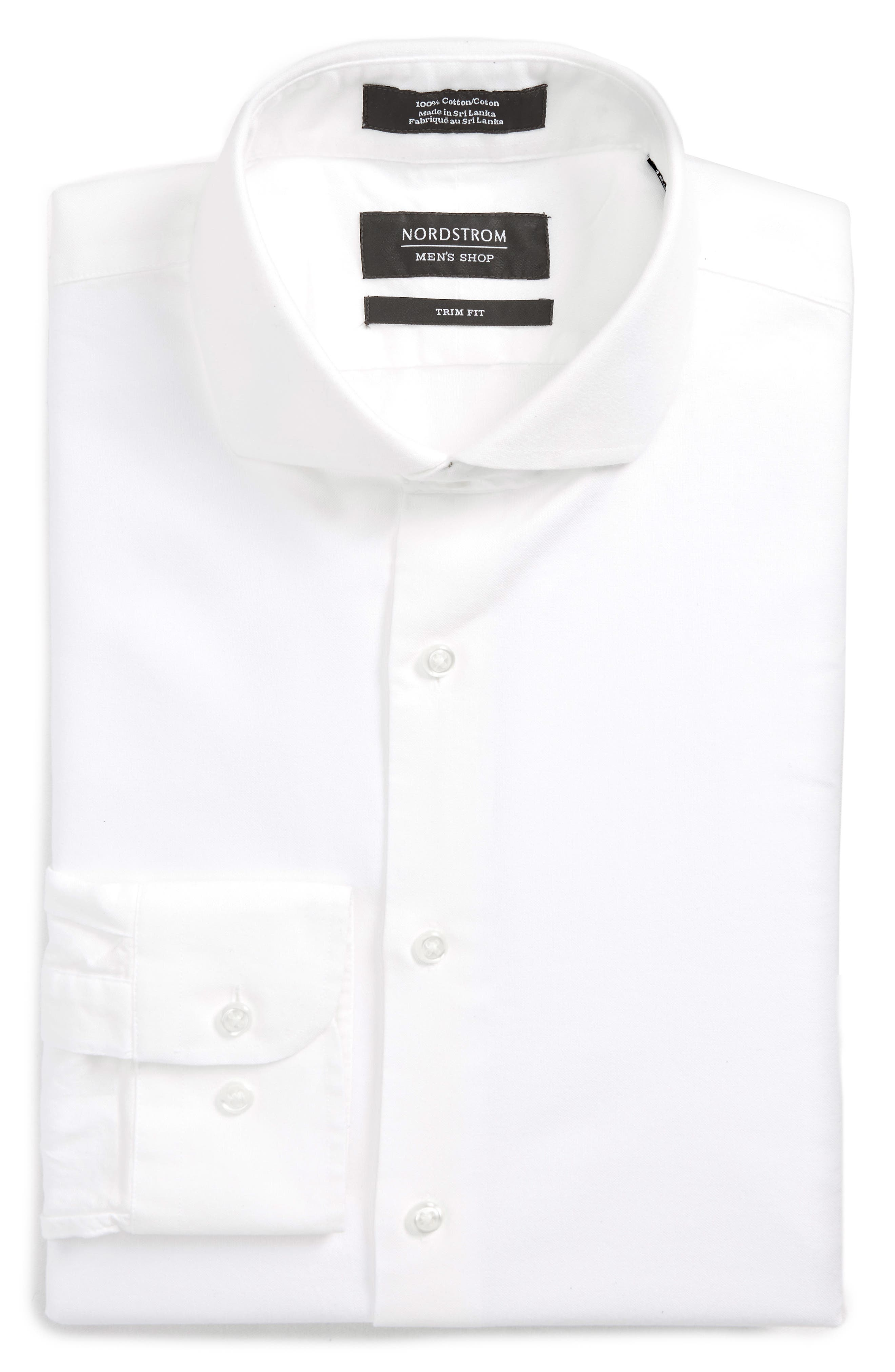 Trim Fit Solid Dress Shirt,                             Alternate thumbnail 7, color,                             White