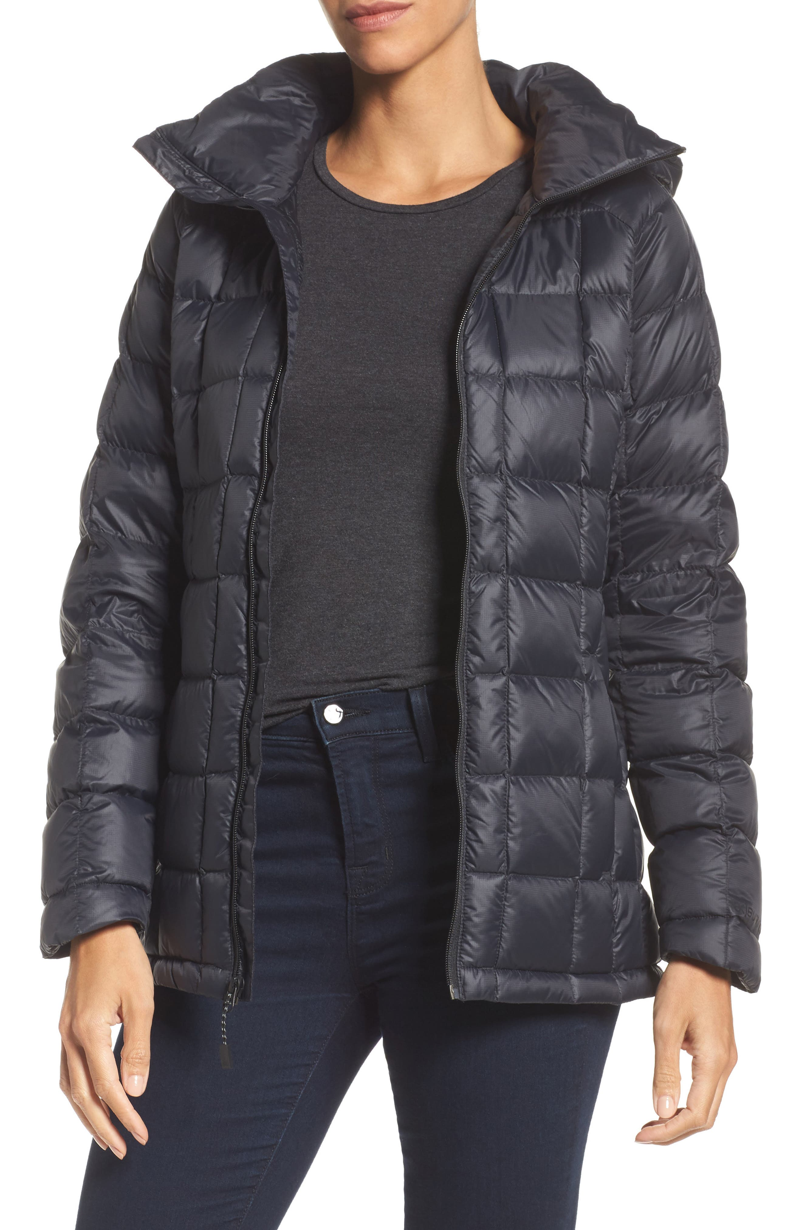 AK Baker Waterproof Quilted Down Insulator Jacket with Removable Hood,                             Main thumbnail 1, color,                             True Black