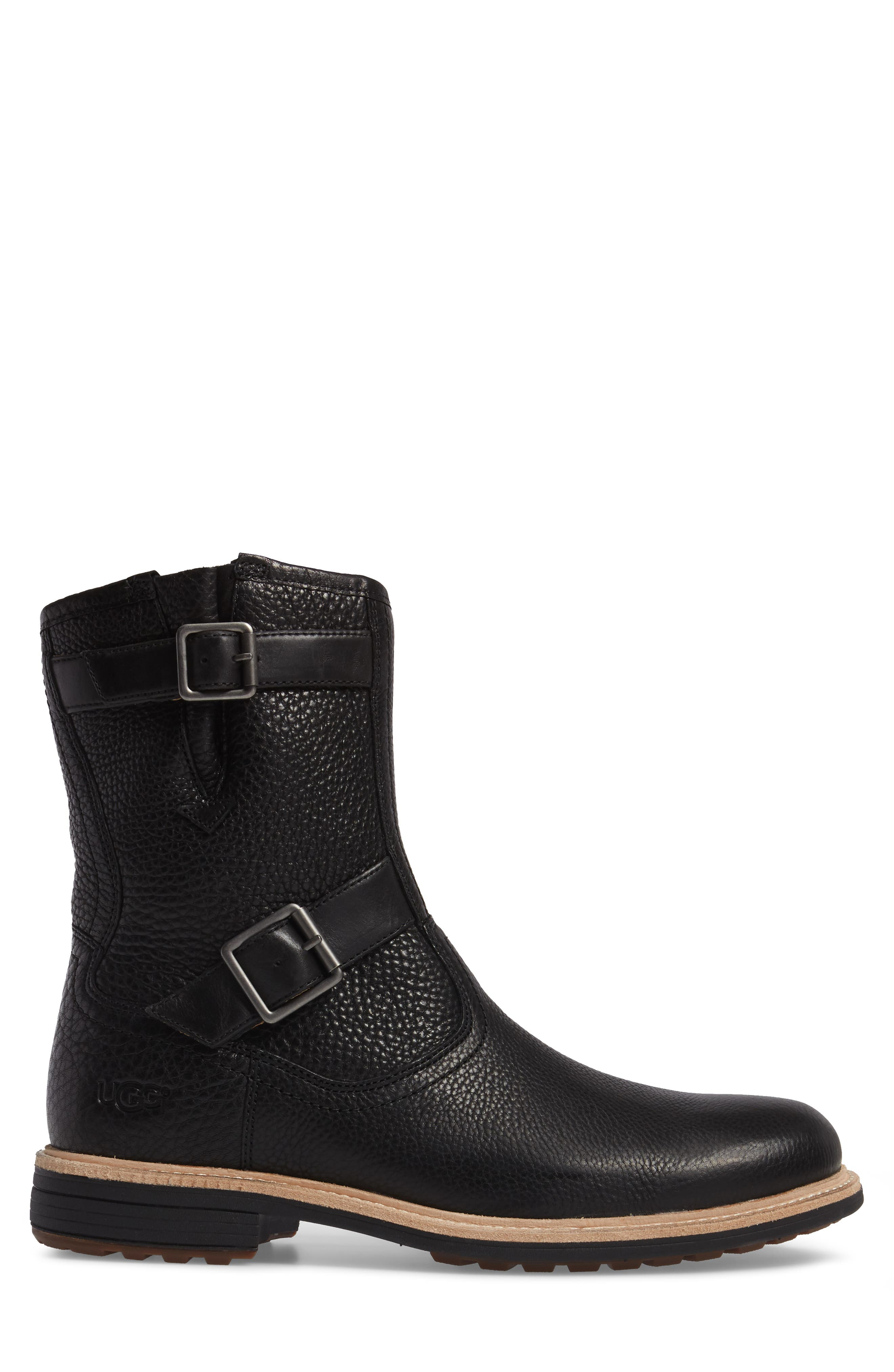 Jaren Zip Boot with Genuine Shearling,                             Alternate thumbnail 3, color,                             Black