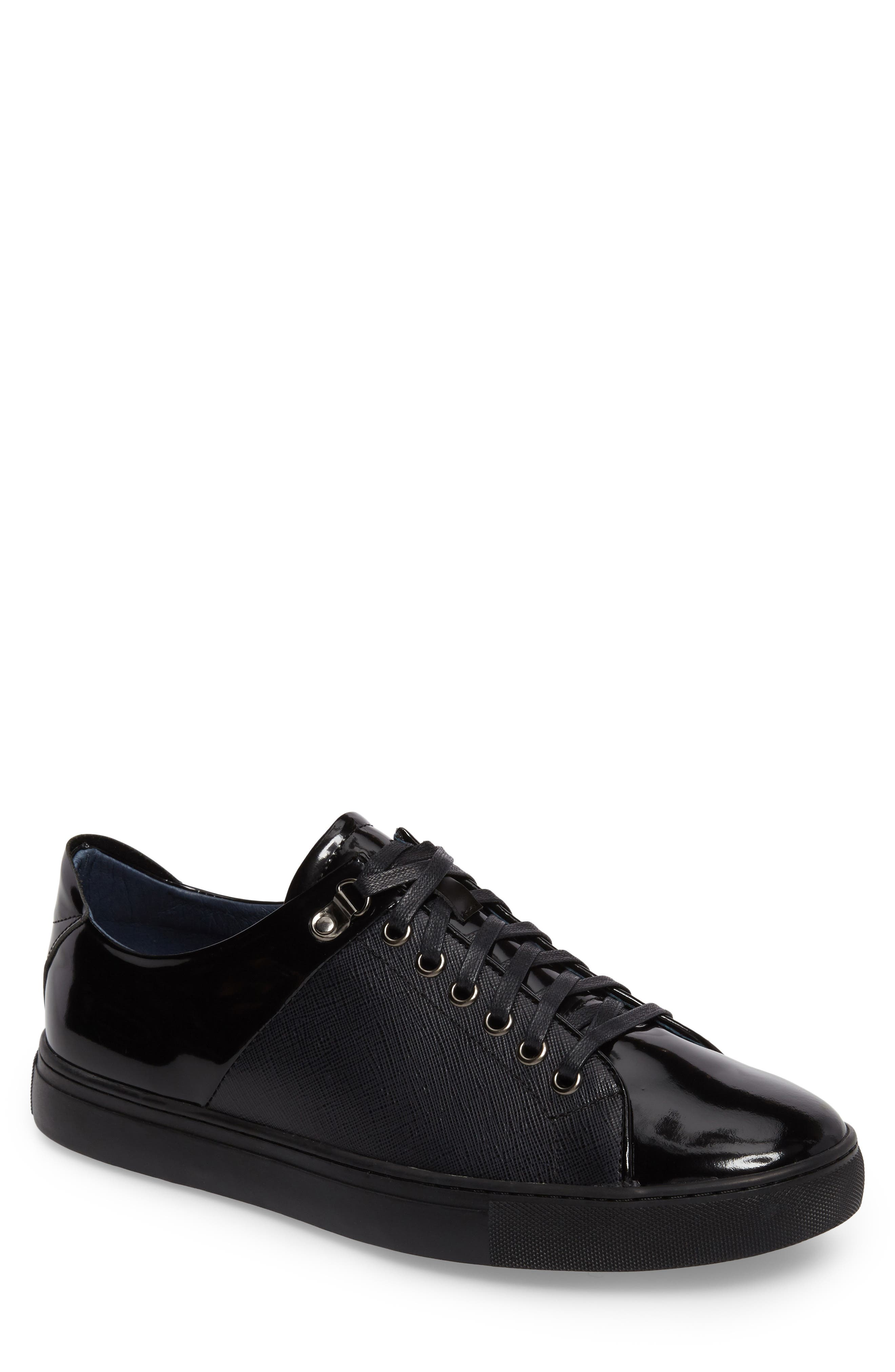 Quidor Low Top Sneaker,                         Main,                         color, Black Leather