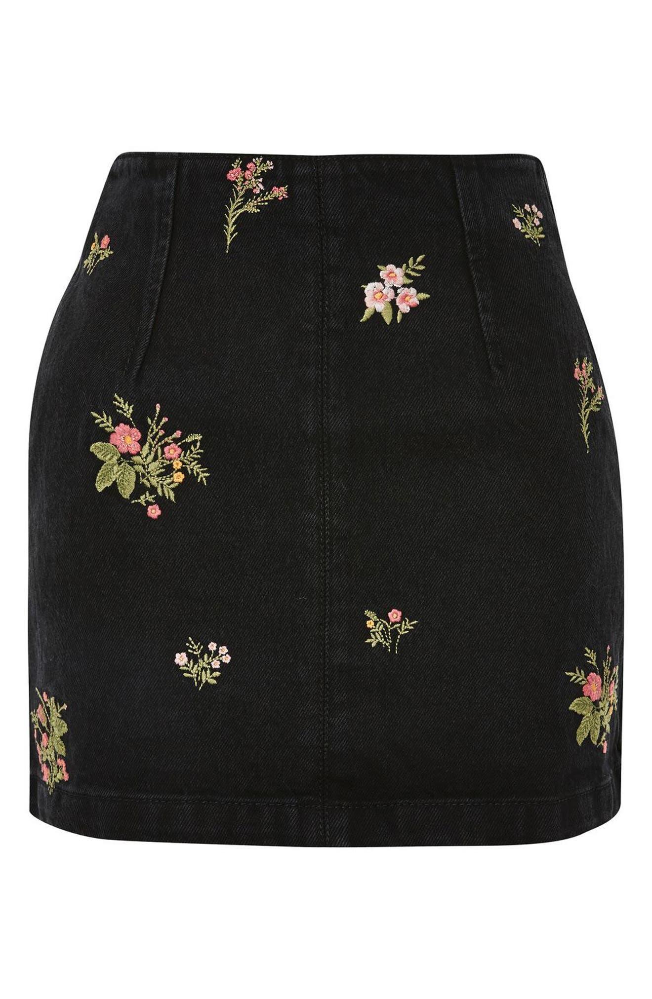 Romantic Floral Denim Miniskirt,                             Alternate thumbnail 4, color,                             Washed Black