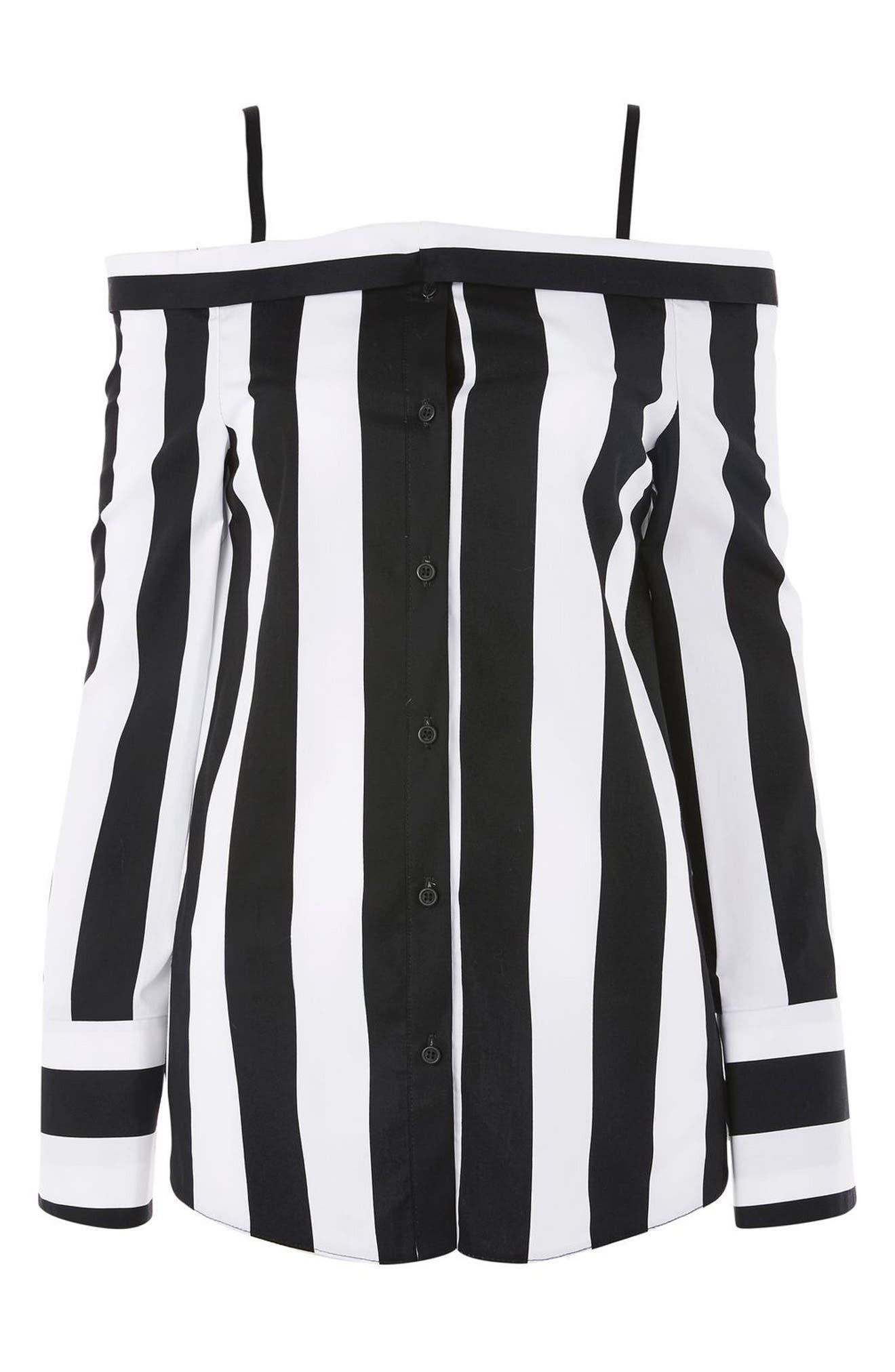 Humbug Stripe Off the Shoulder Shirt,                             Alternate thumbnail 4, color,                             Black Multi
