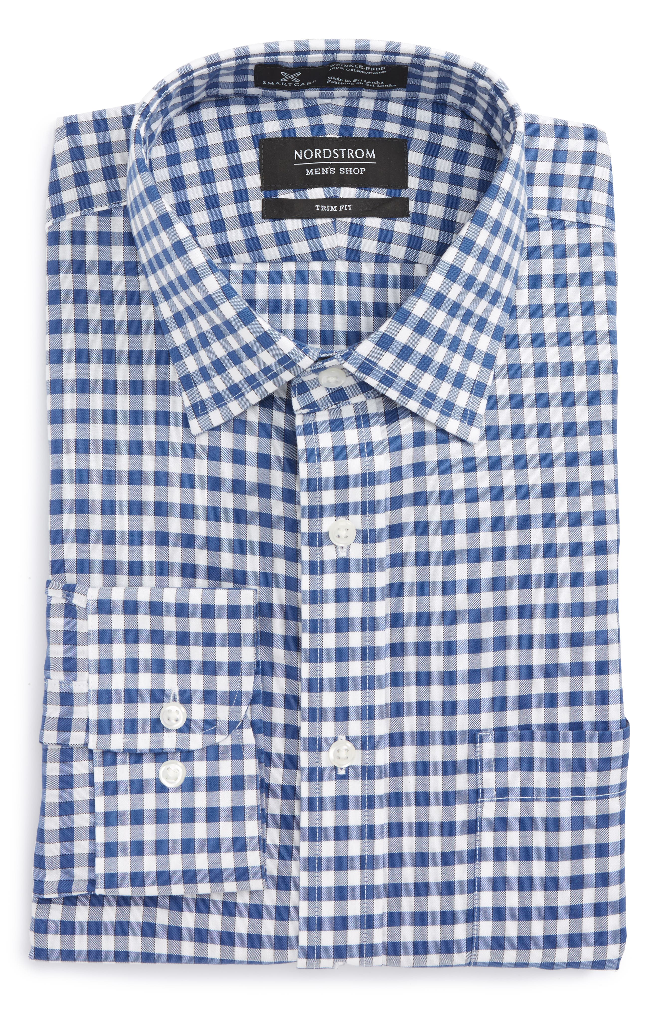 Smartcare<sup>™</sup> Trim Fit Check Dress Shirt,                             Alternate thumbnail 6, color,                             Blue Canal