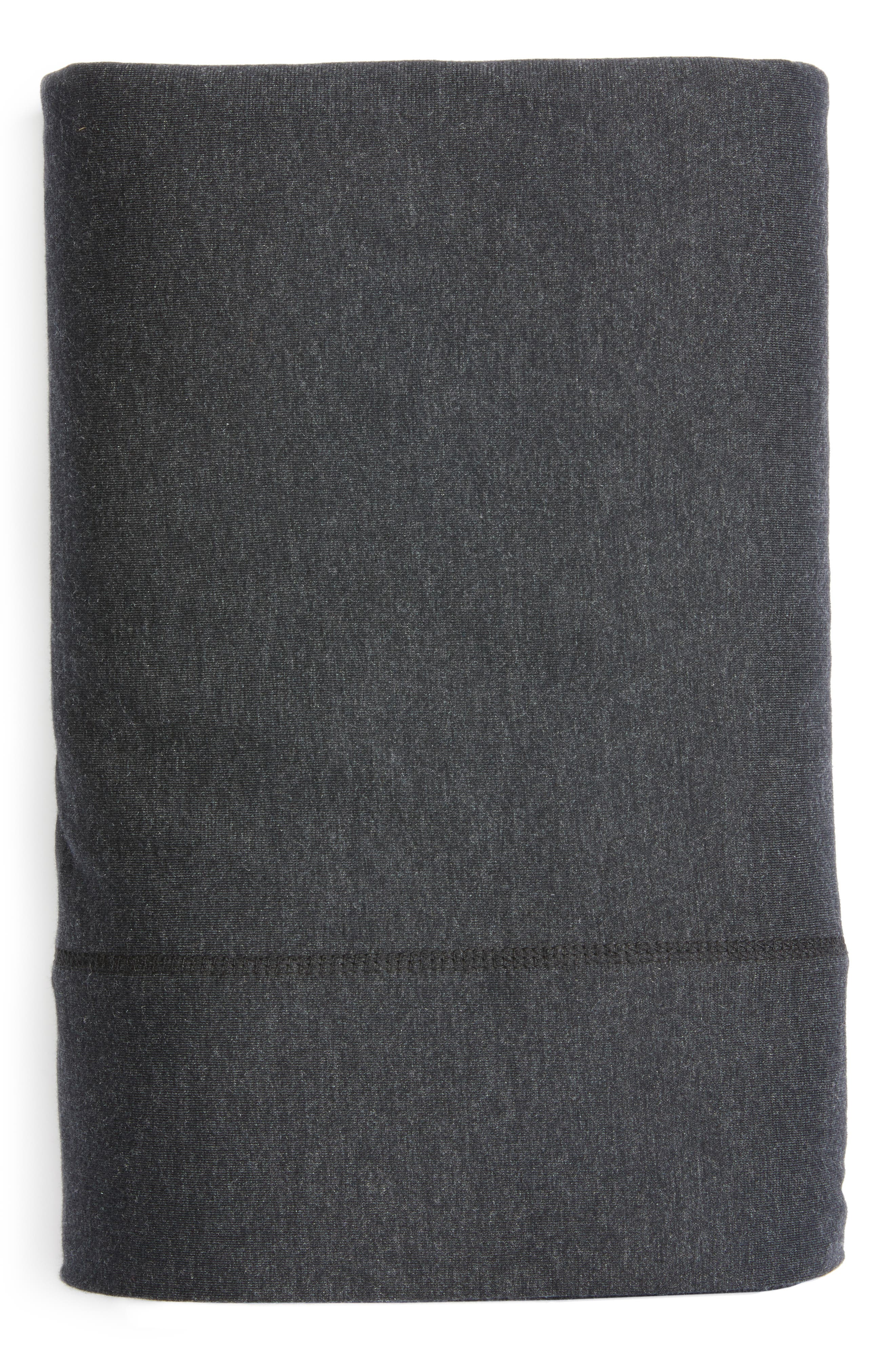 Cotton & Modal Jersey Flat Sheet,                         Main,                         color, Muted Black