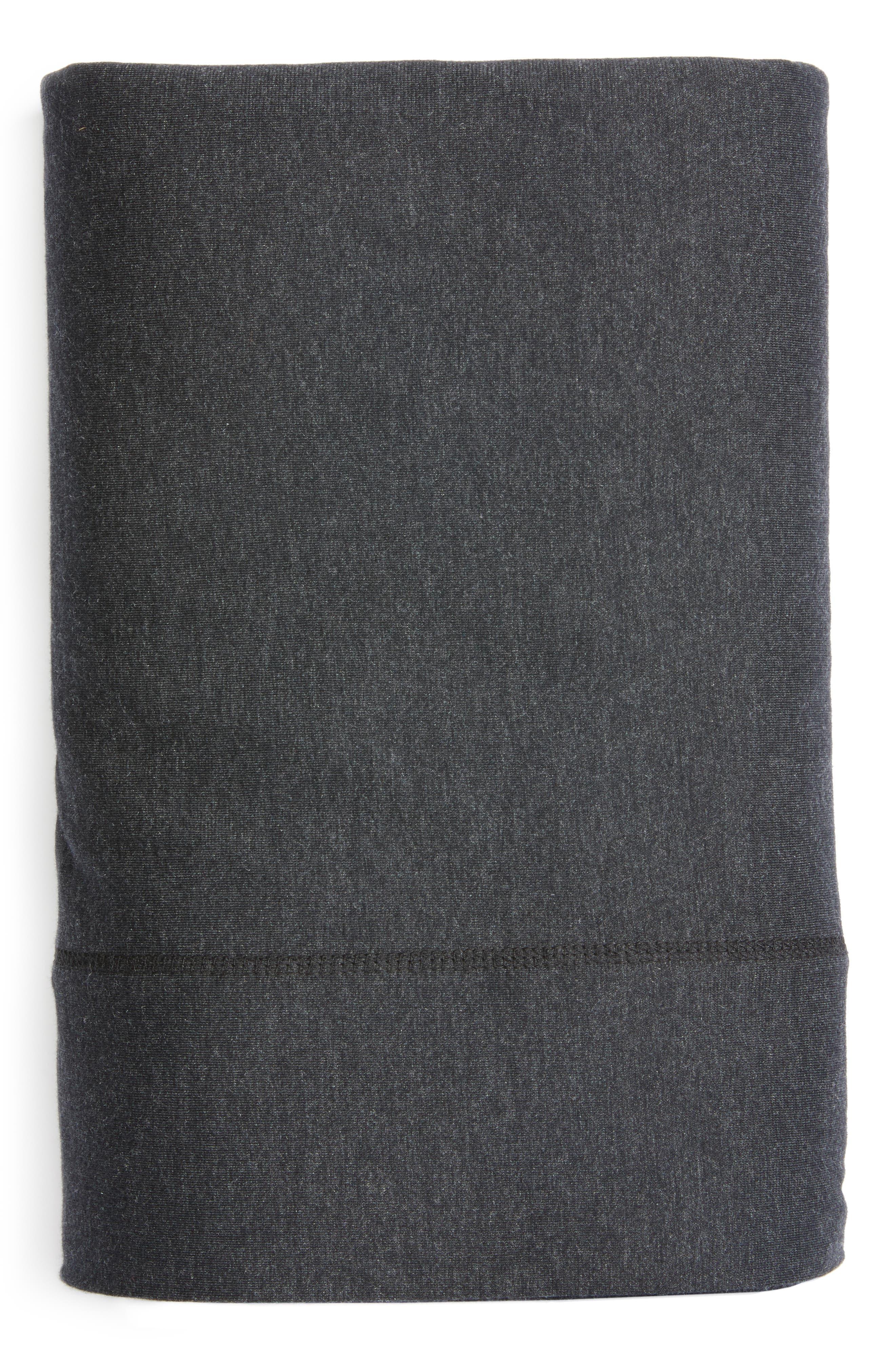 Cotton & Modal Jersey Flat Sheet,                         Main,                         color, Muted Black