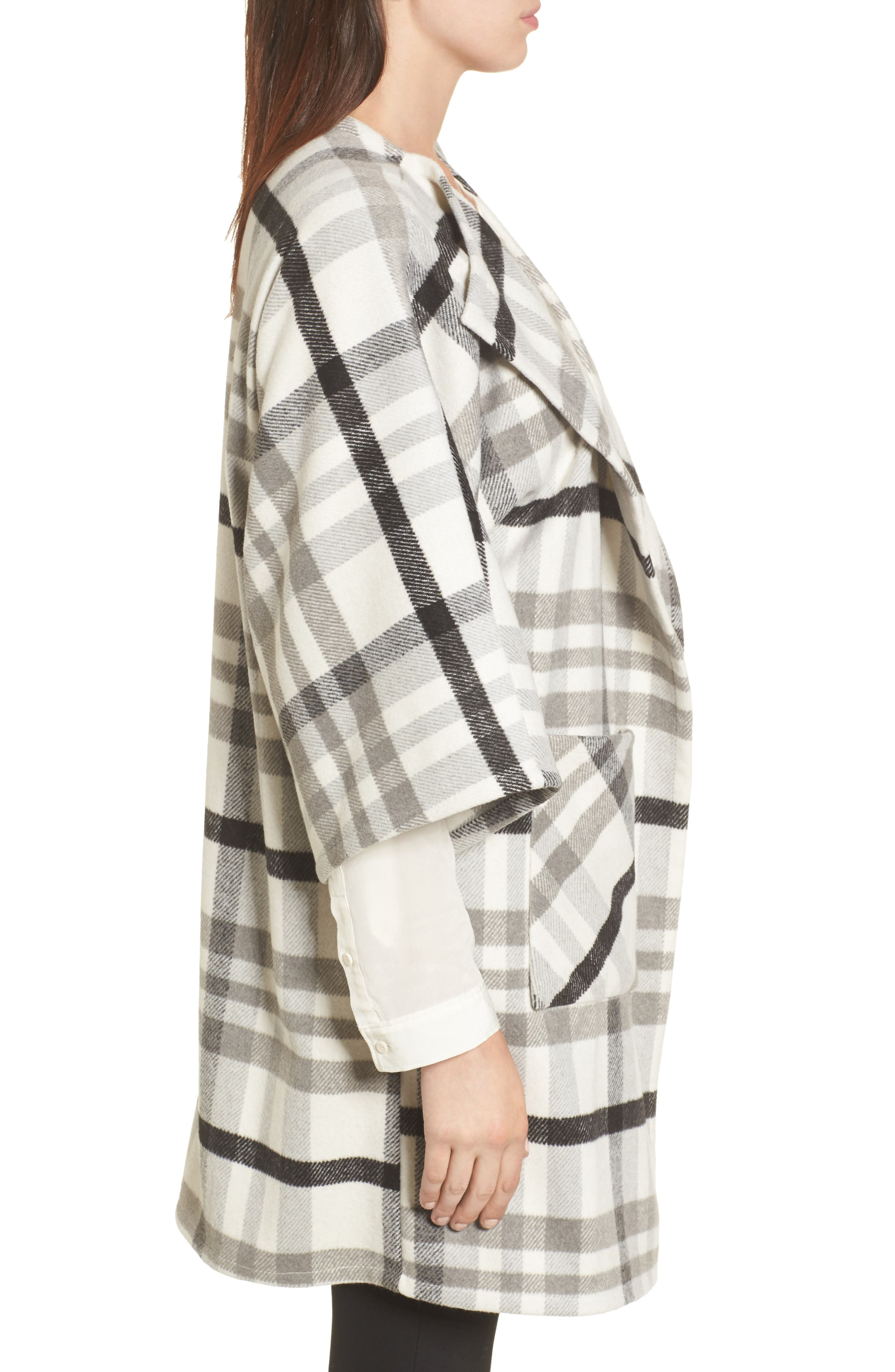 Woven Plaid Wrap,                             Alternate thumbnail 3, color,                             Ivory Combo