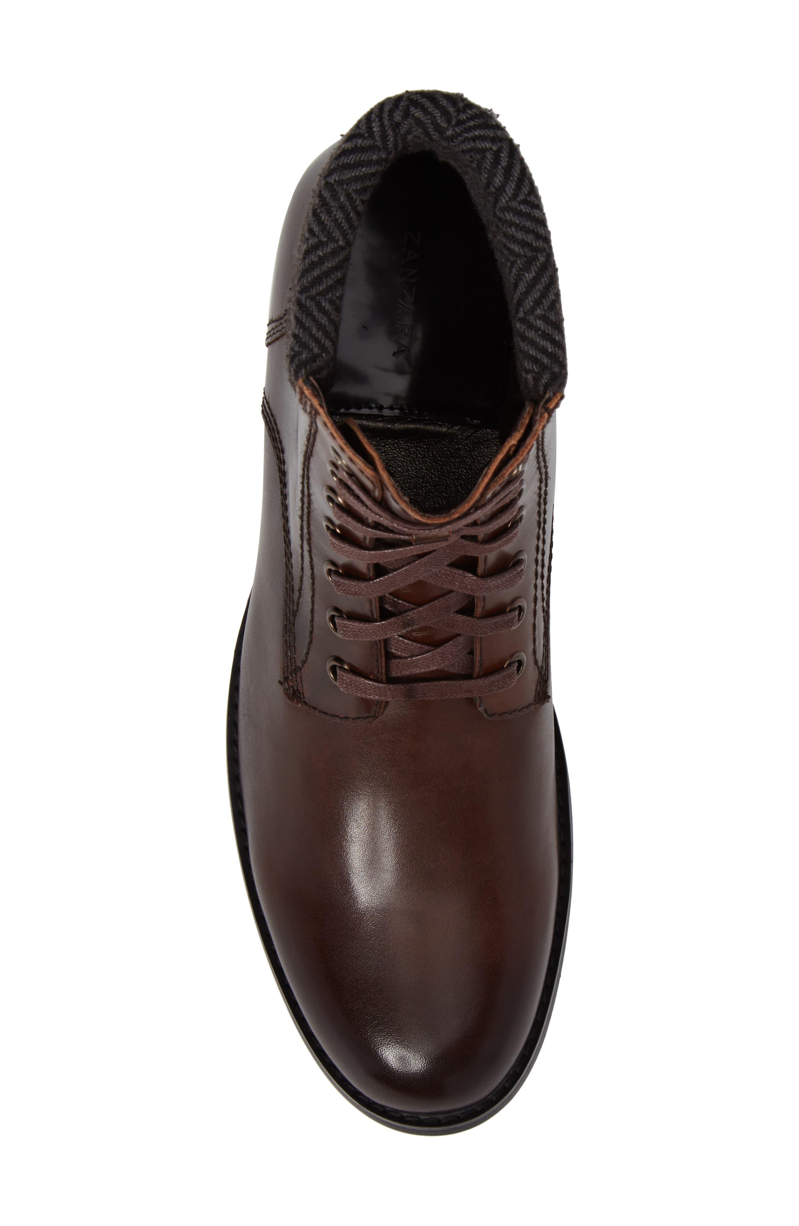 Saar Plain Toe Boot,                             Alternate thumbnail 5, color,                             Brown Leather