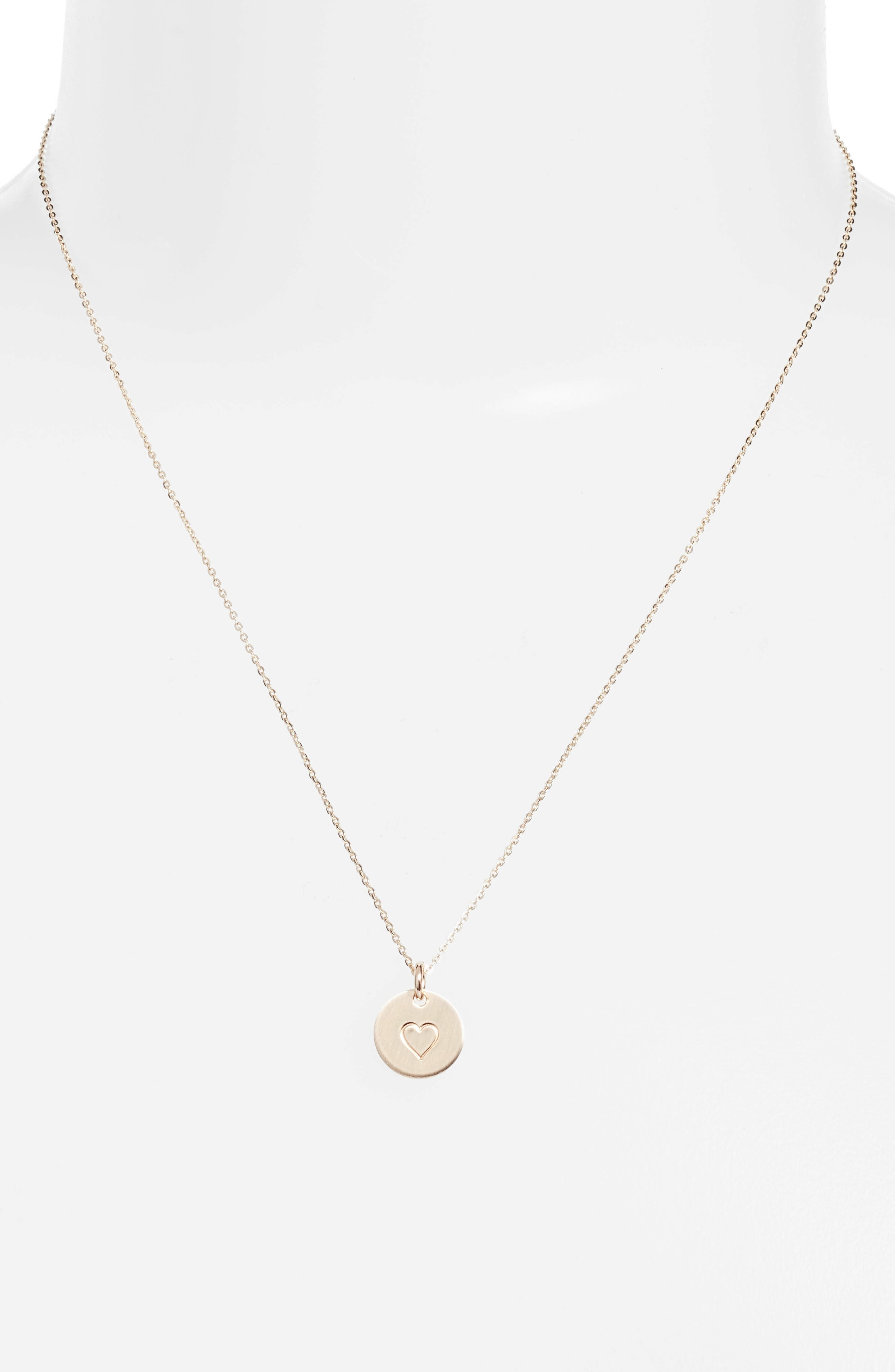 Heart Stamped Disc Necklace,                         Main,                         color, Gold