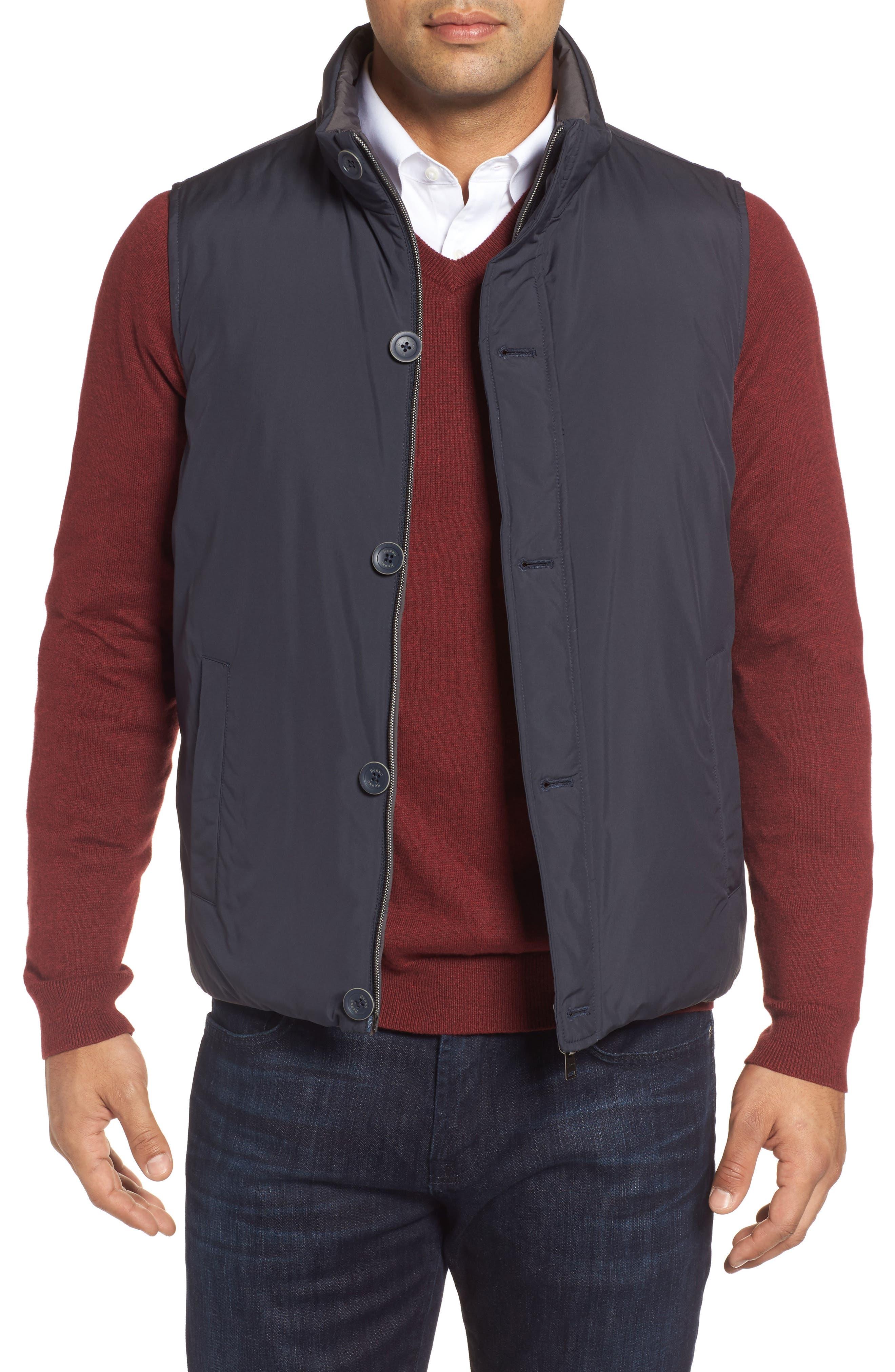 Reversible Down Vest,                         Main,                         color, Navy/ Grey
