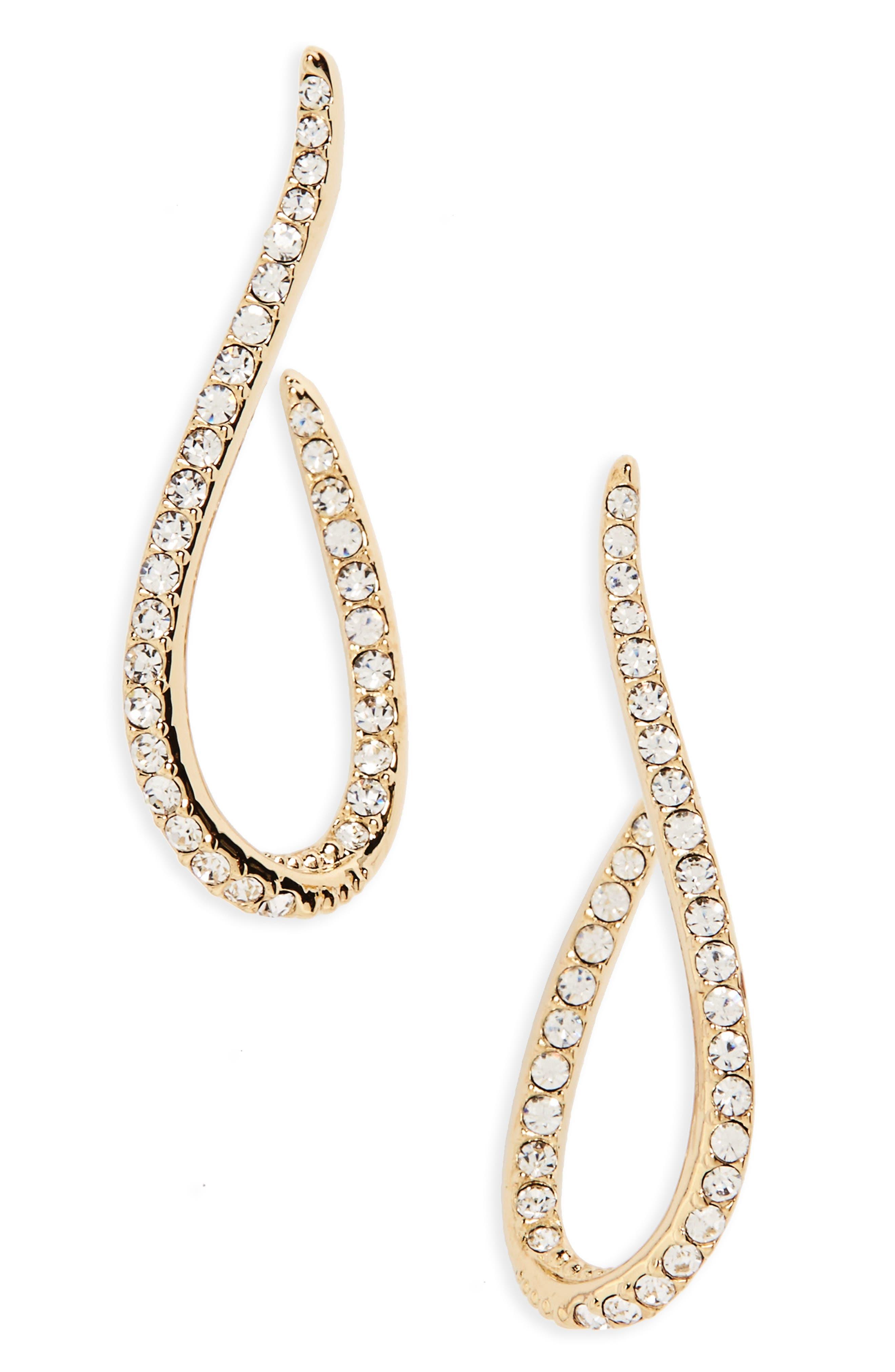 Nadri Citron J Hoop Crystal Drop Earrings