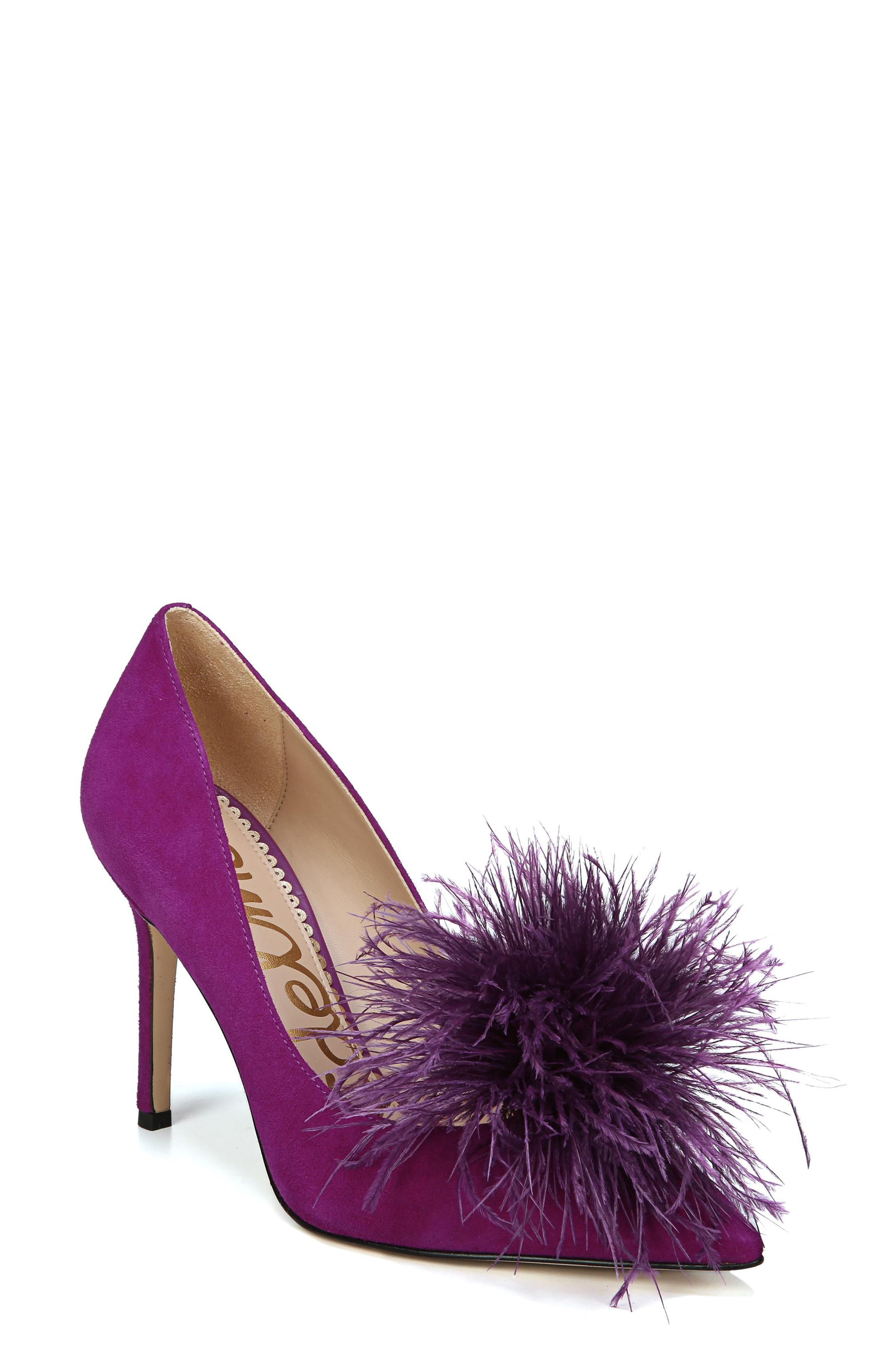 Haide Feather Pompom Pump,                             Main thumbnail 1, color,                             Laser Purple Leather