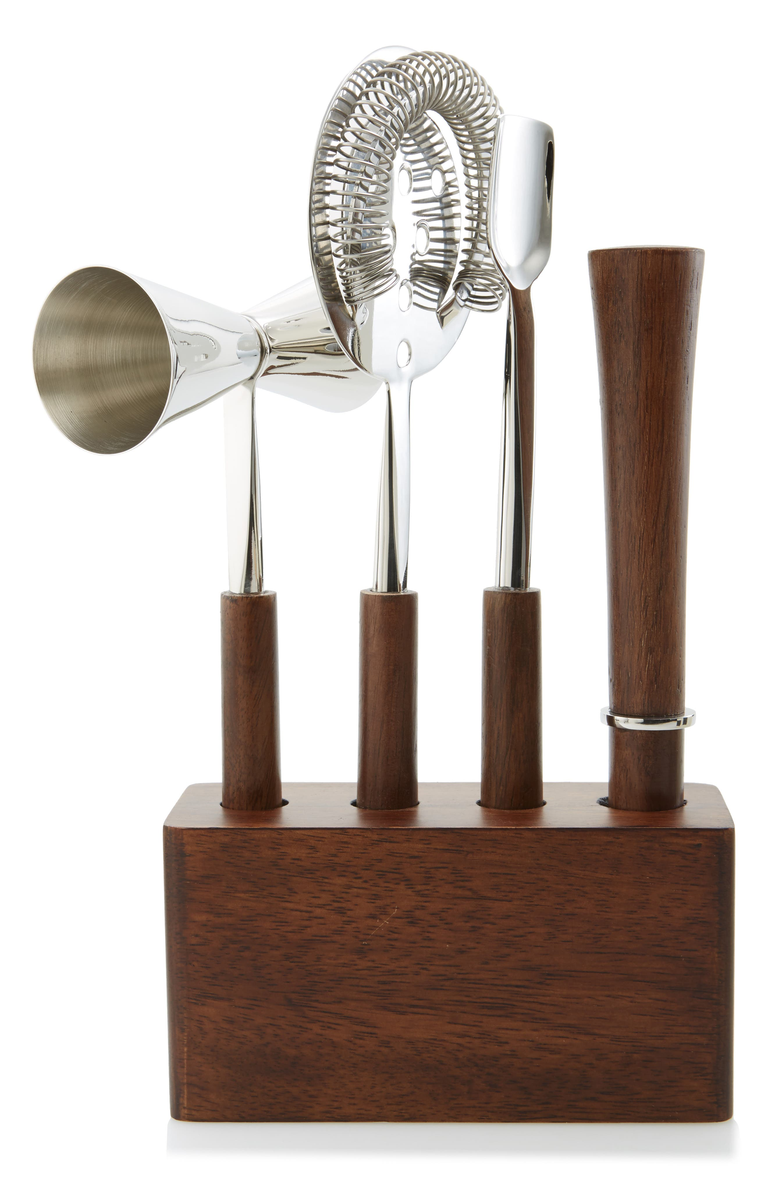 4-Piece Stainless Steel & Wood Bar Set,                         Main,                         color, Silver
