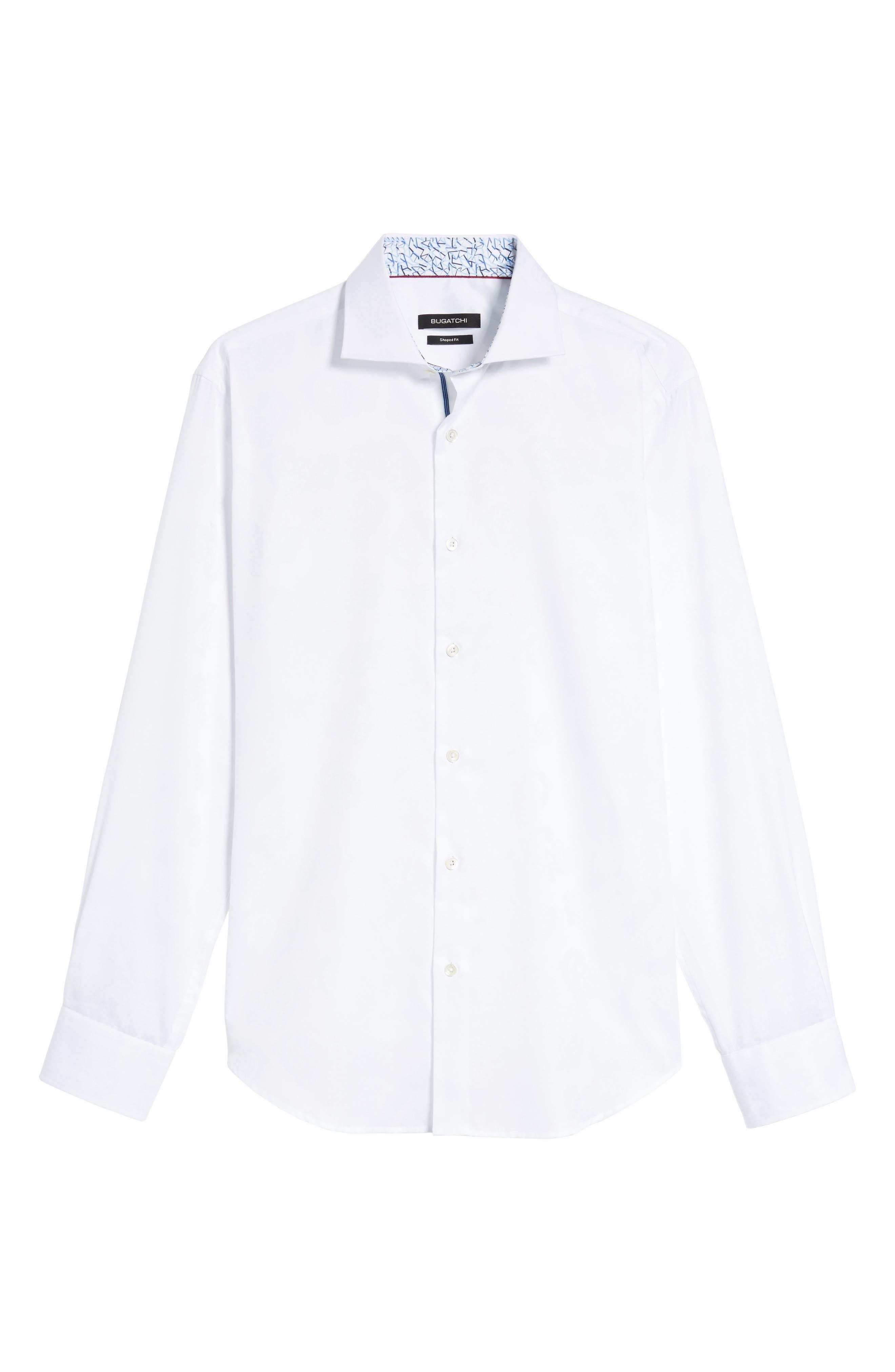 Trim Fit Floral Jacquard Sport Shirt,                             Alternate thumbnail 6, color,                             White