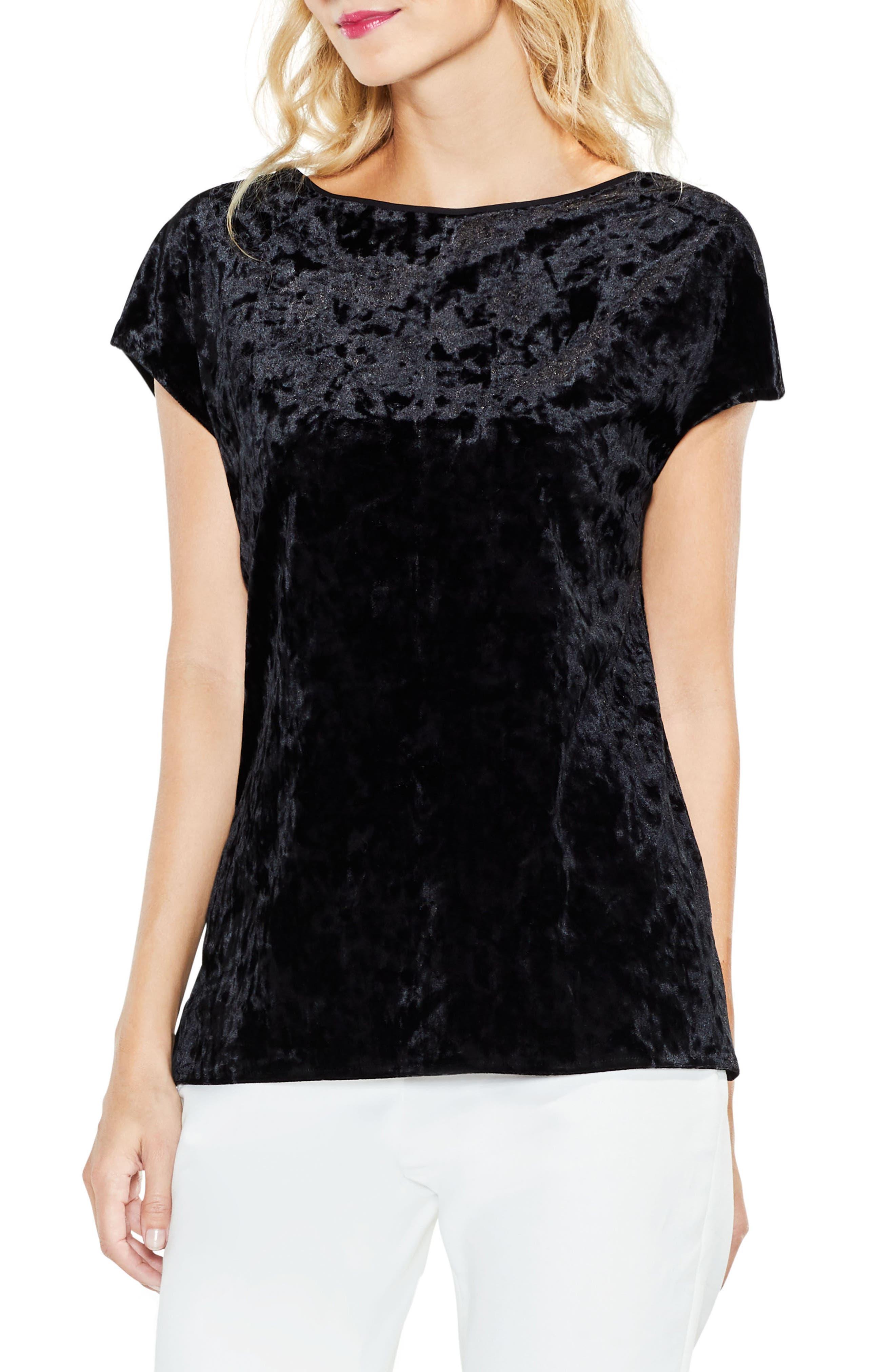Extended Shoulder Crushed Velvet Top,                         Main,                         color, Rich Black