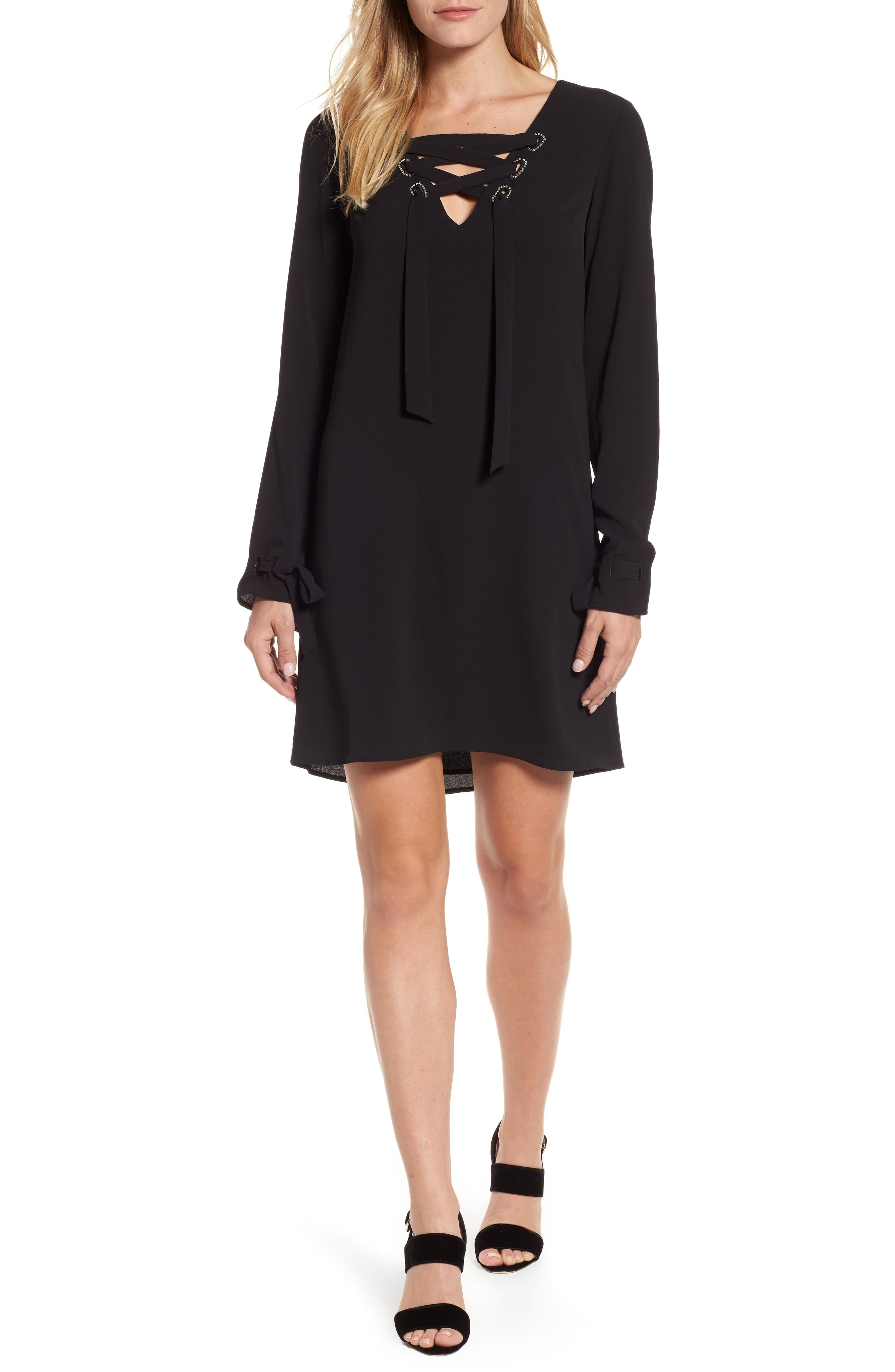 Lace-Up Shift Dress,                             Main thumbnail 1, color,                             Black