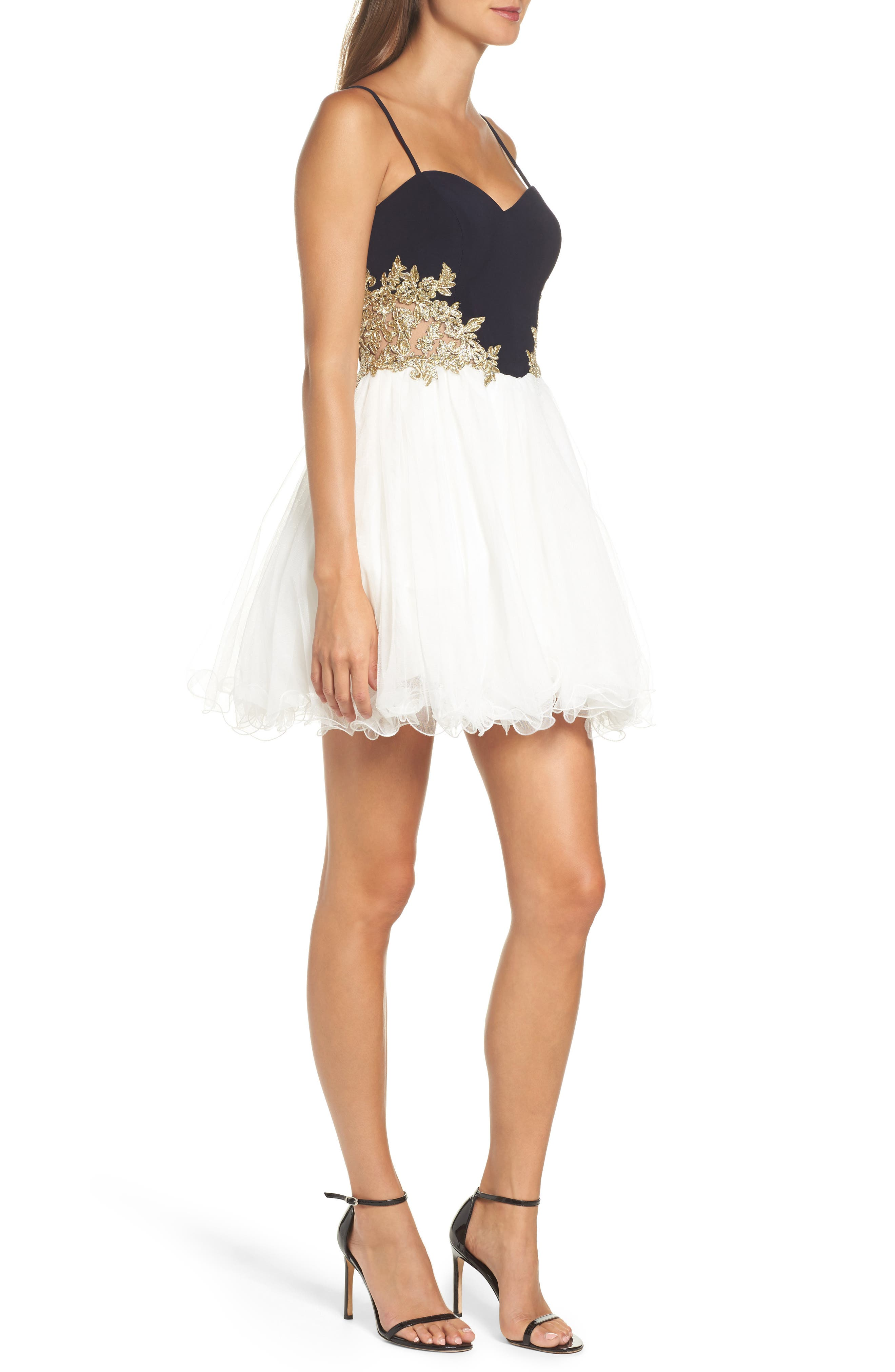 Alternate Image 3  - Blondie Nites Colorblock Appliqué Skater Dress
