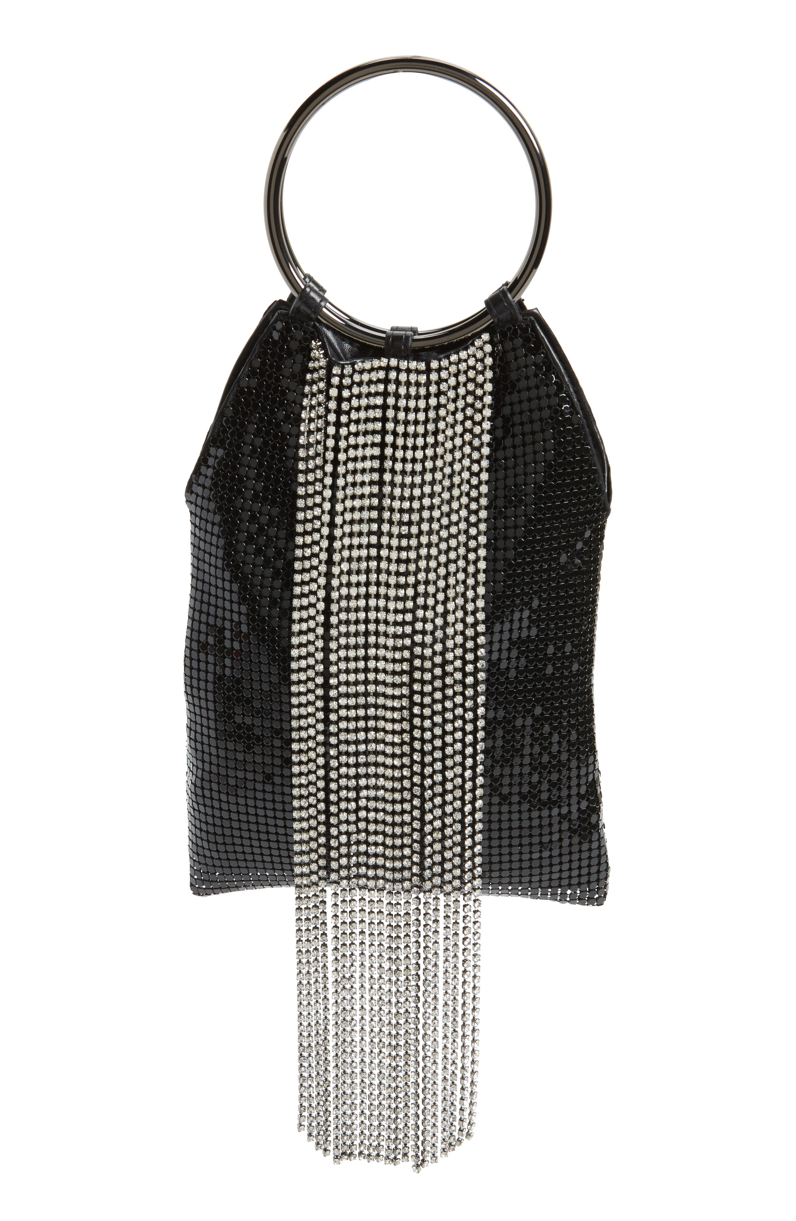Cascade Crystal Fringe Mesh Bracelet Bag - Black