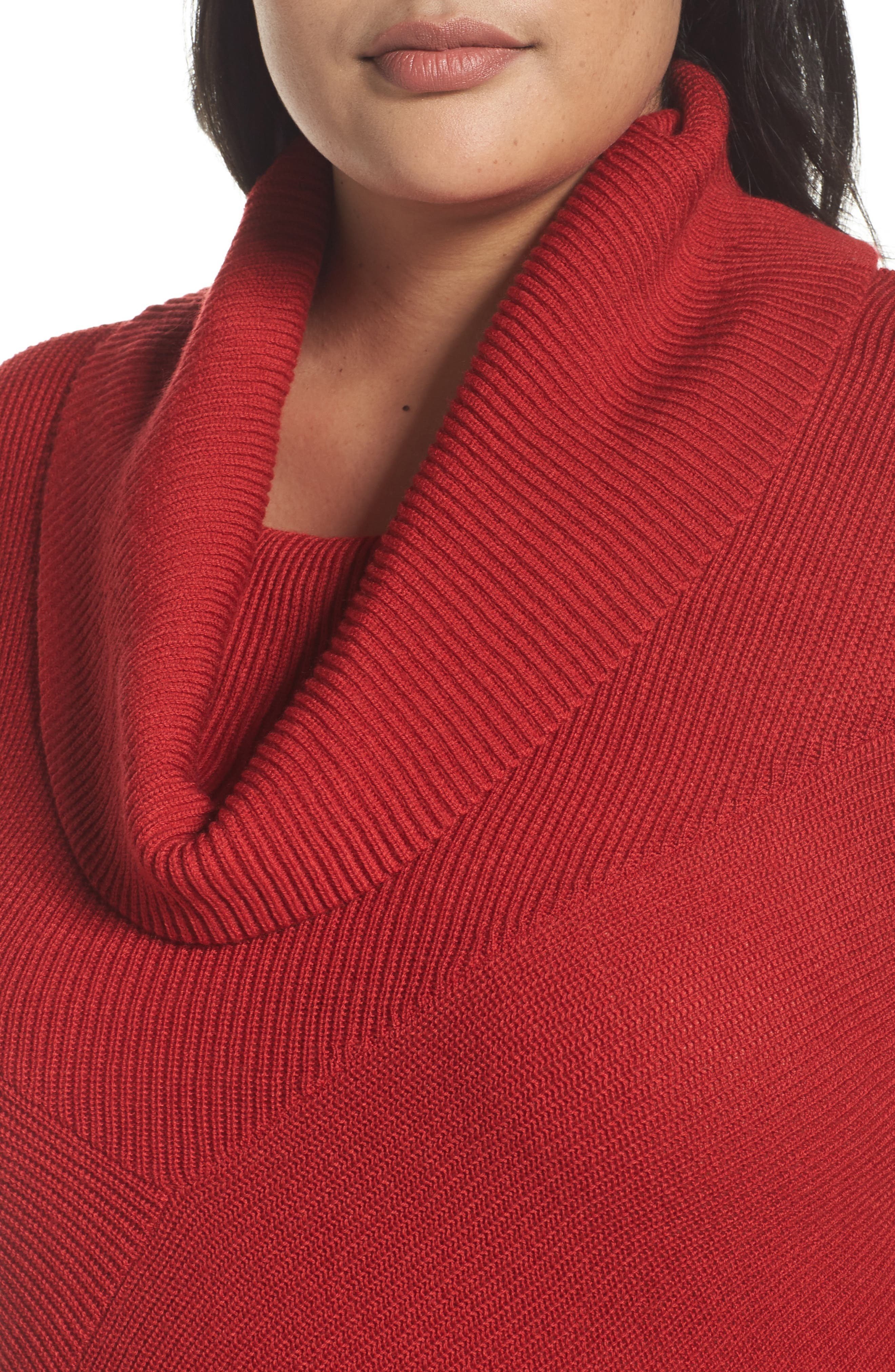 Cowl Neck Ribbed Trim Pullover,                             Alternate thumbnail 4, color,                             Red Sage