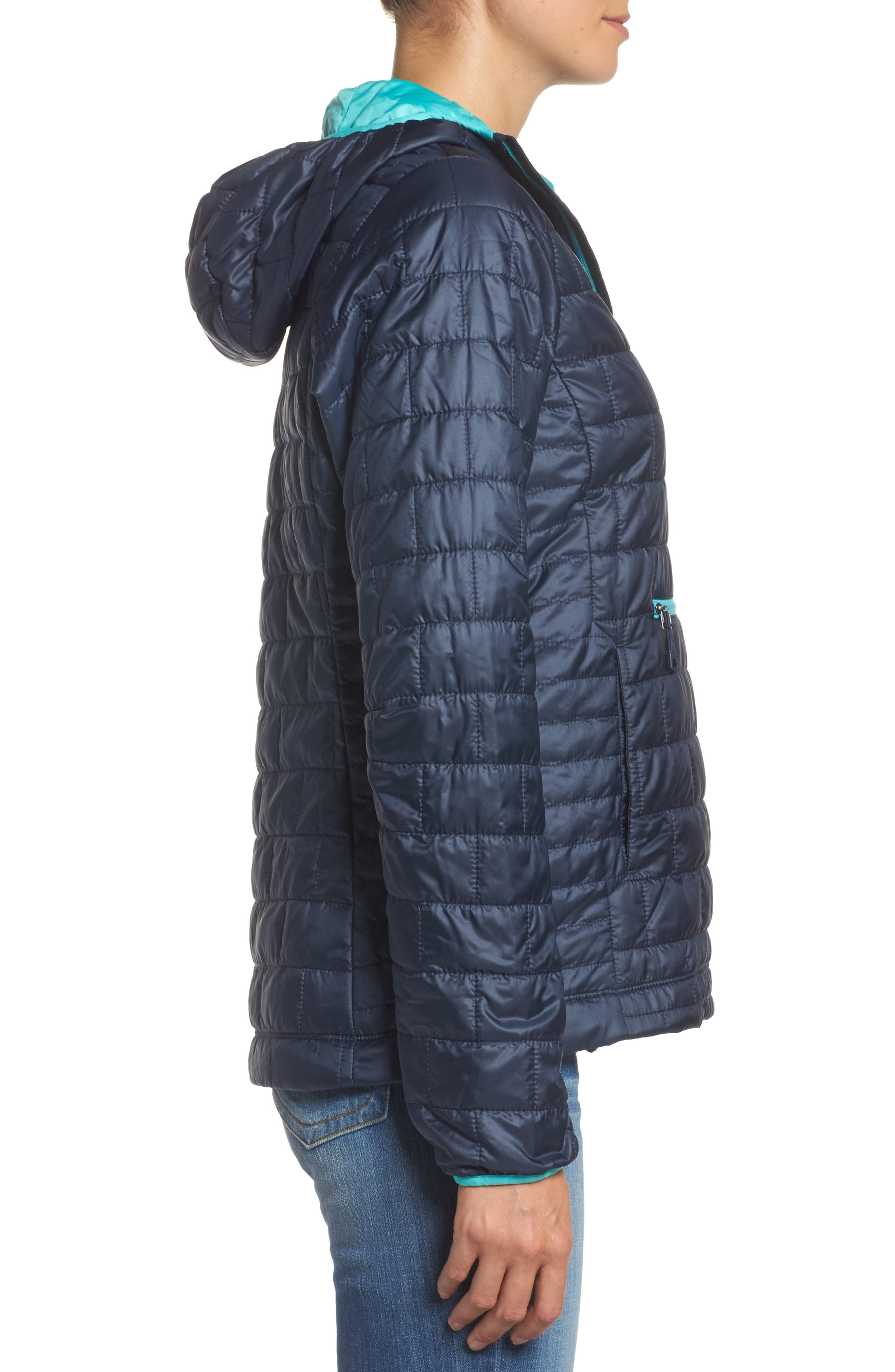 Nano Puff<sup>®</sup> Bivy Water Resistant Jacket,                             Alternate thumbnail 3, color,                             Navy Blue W/ Strait Blue