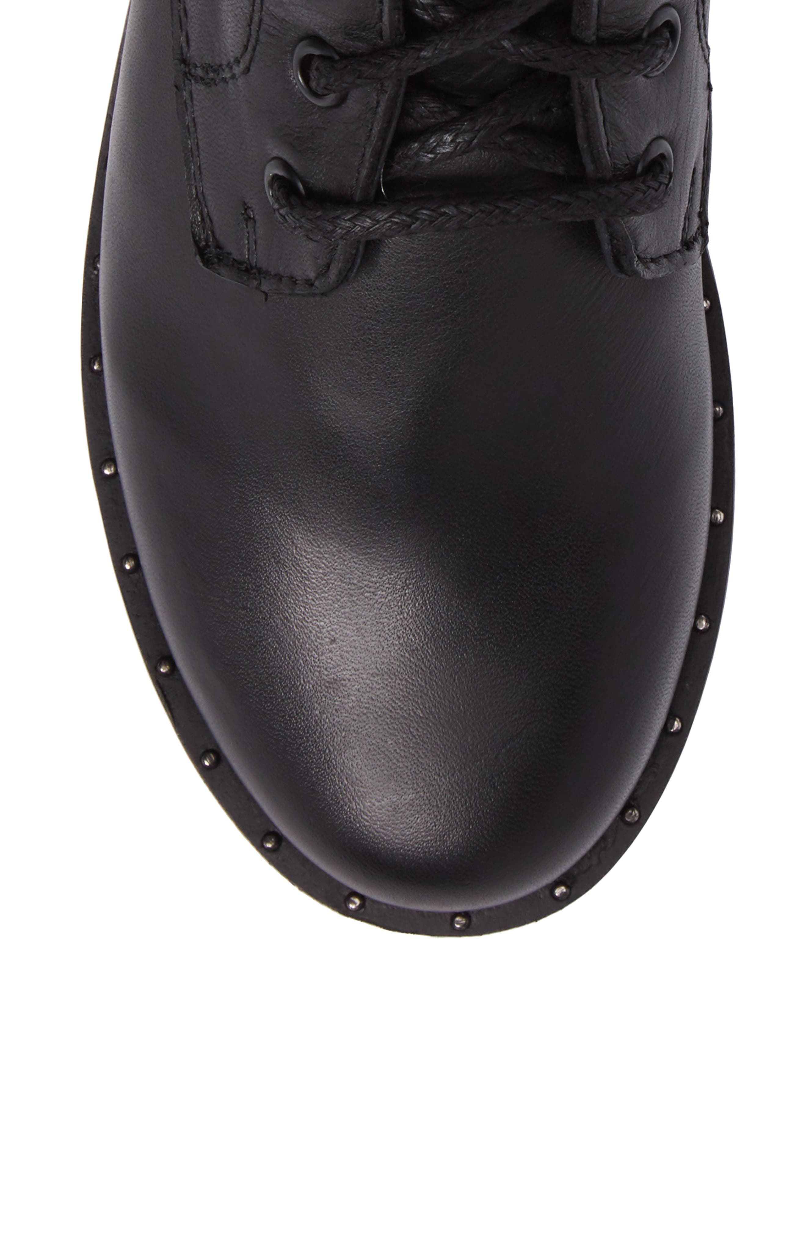 Rocco Combat Boot,                             Alternate thumbnail 5, color,                             Black Leather