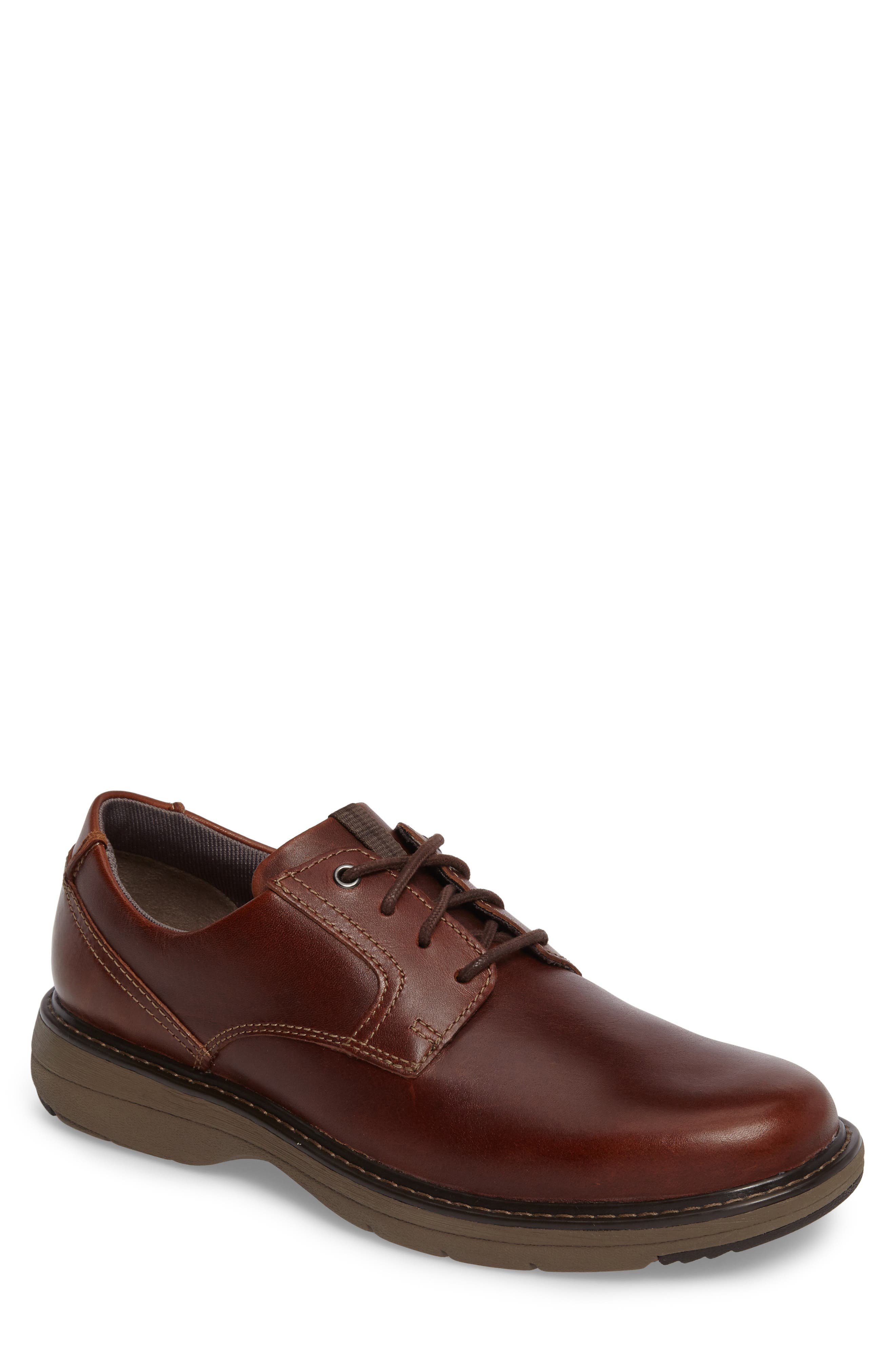 Cushox Plain Toe Derby,                             Main thumbnail 1, color,                             Dark Tan Leather