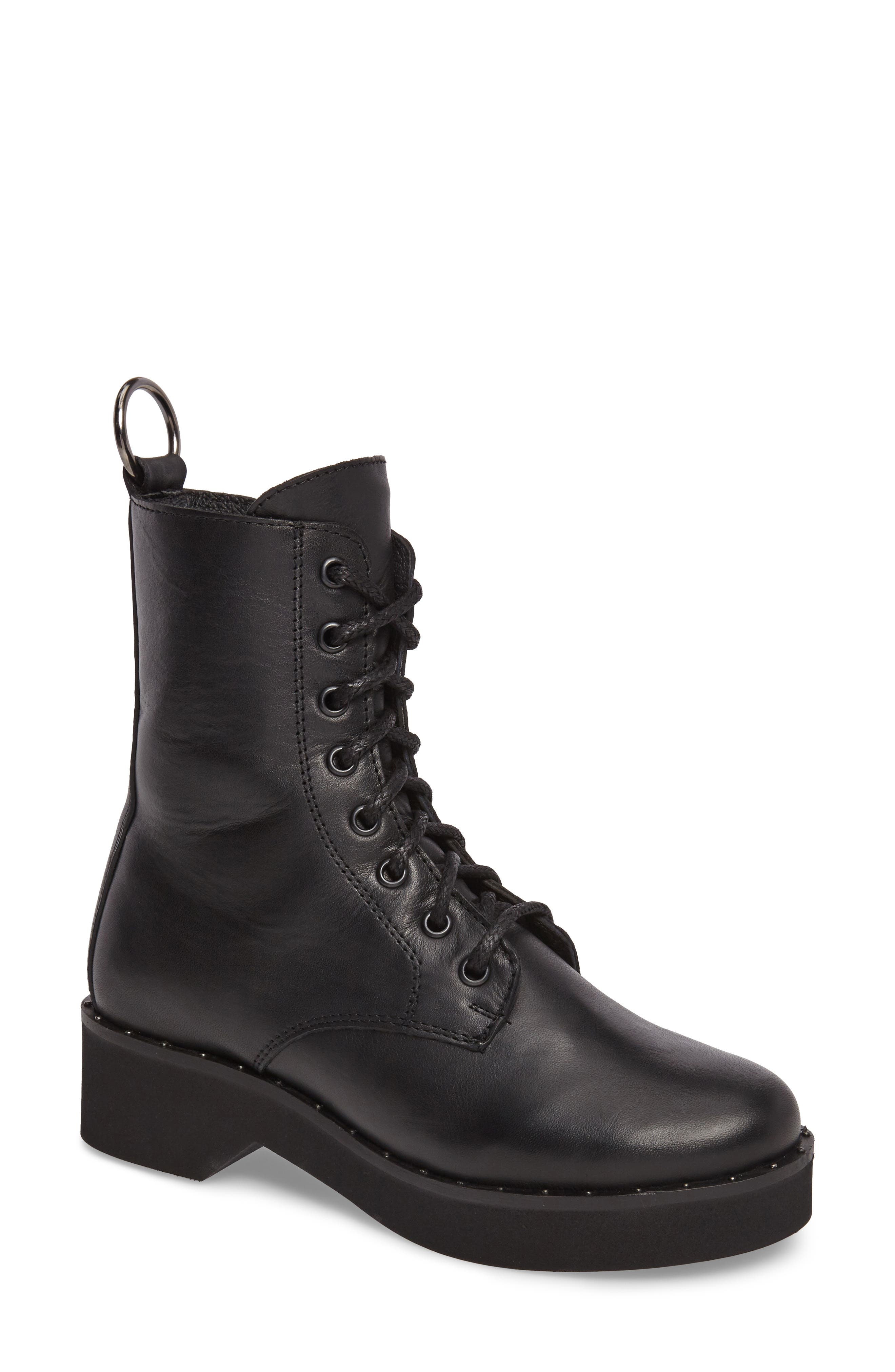 Rocco Combat Boot,                         Main,                         color, Black Leather