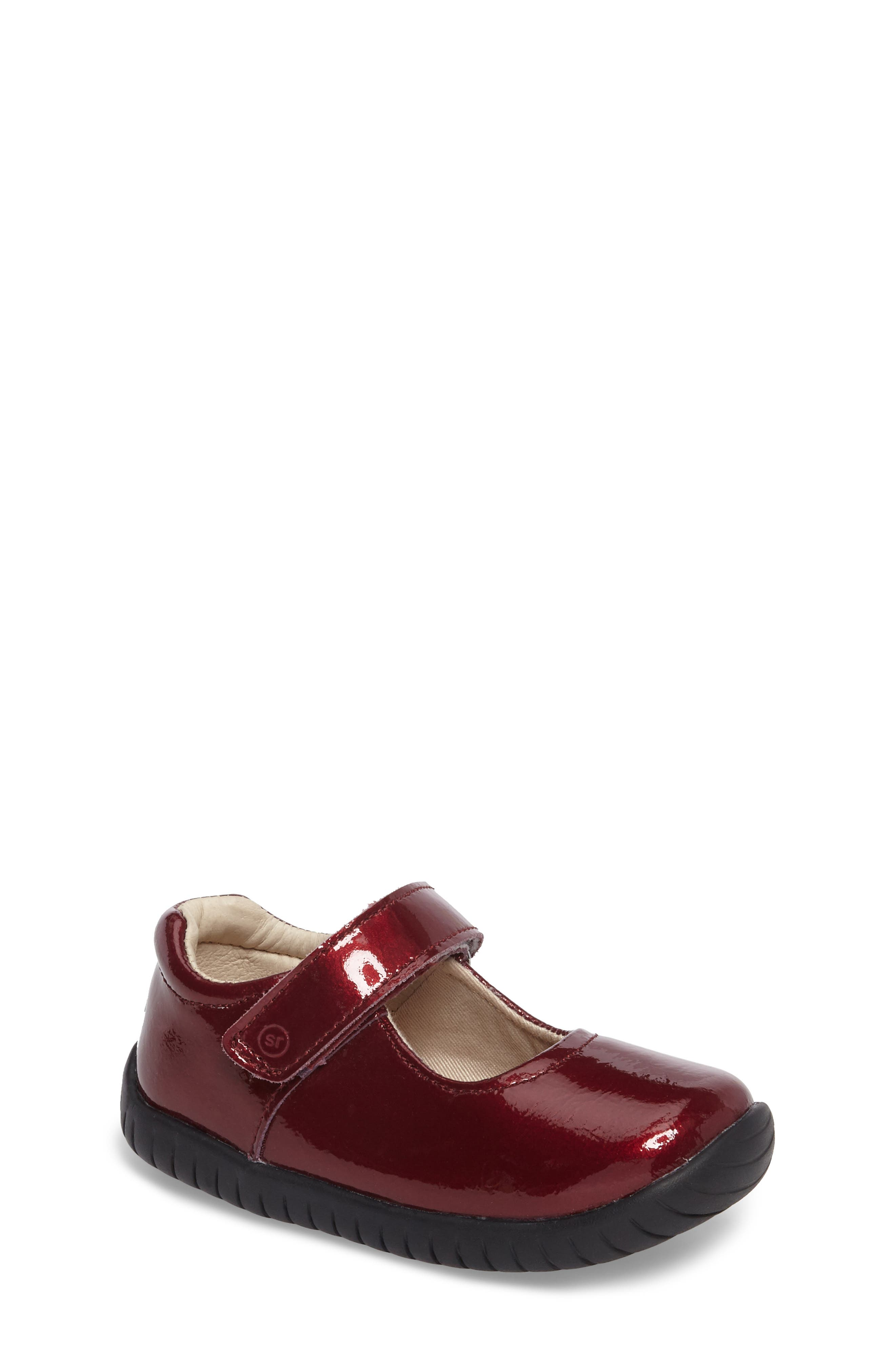 Maya Mary Jane Flat,                             Main thumbnail 1, color,                             Burgundy Patent Leather