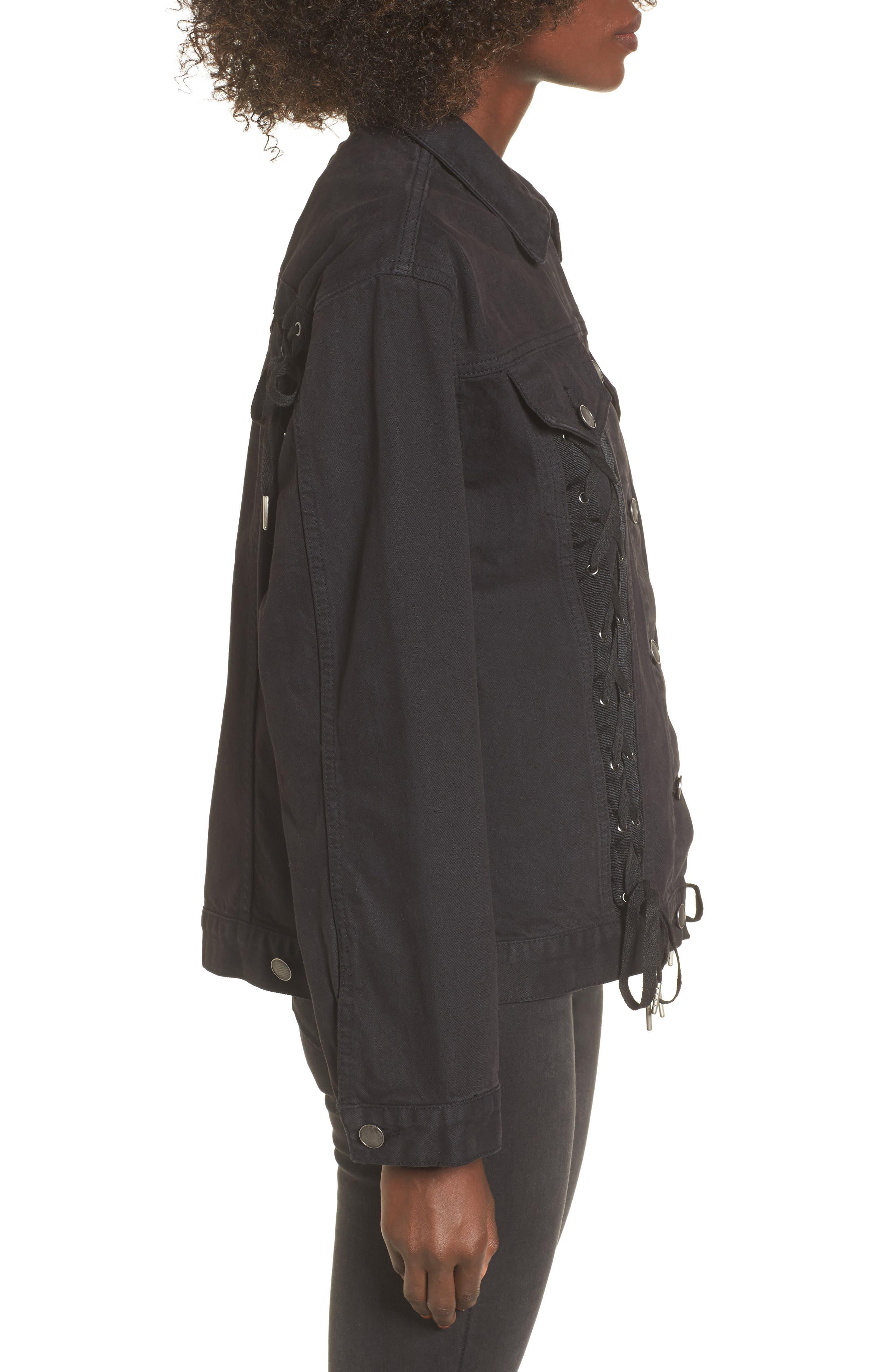 Lace-Up Denim Jacket,                             Alternate thumbnail 3, color,                             Black