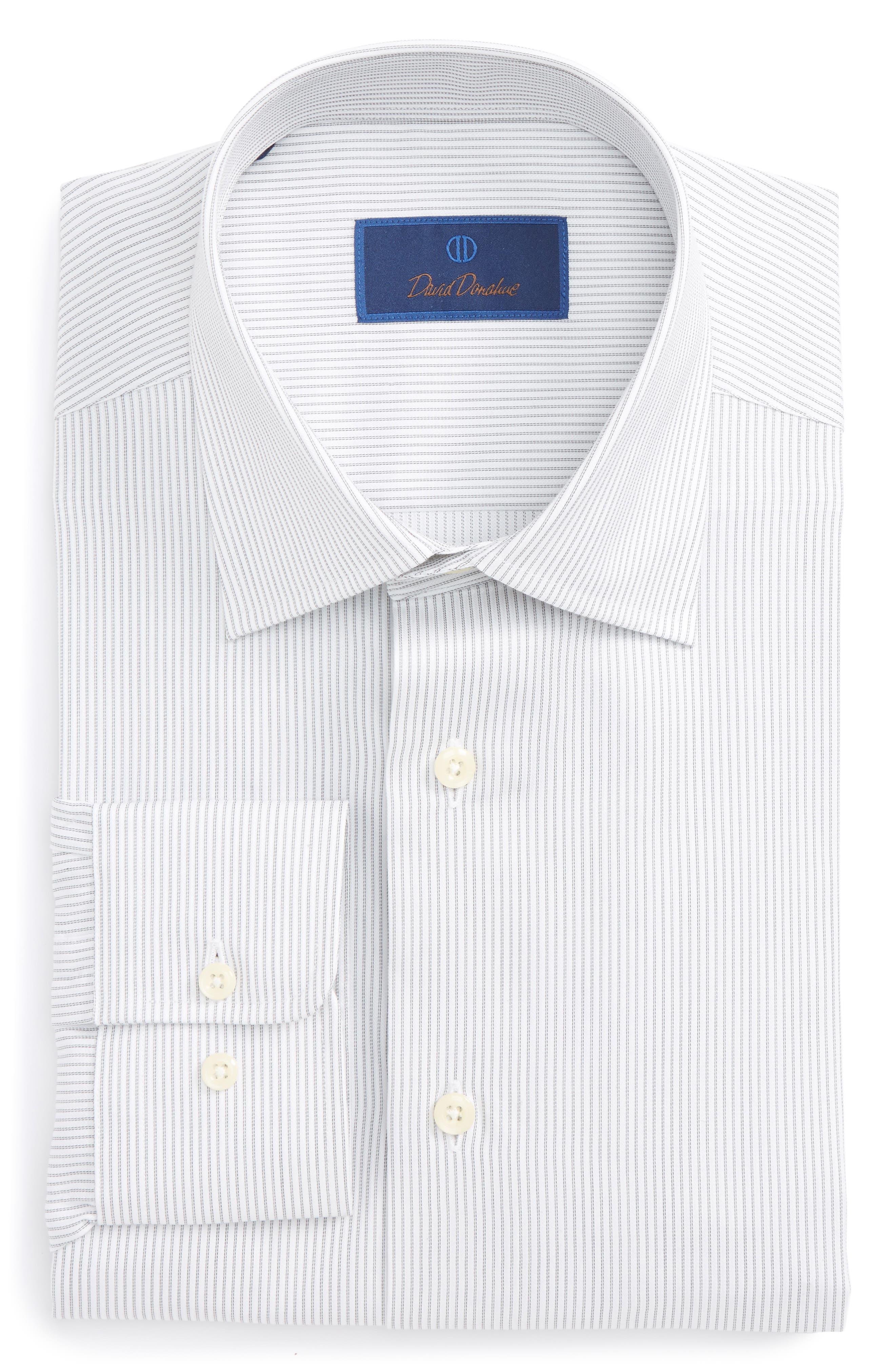 David Donahue Regular Fit Stripe Dress Shirt