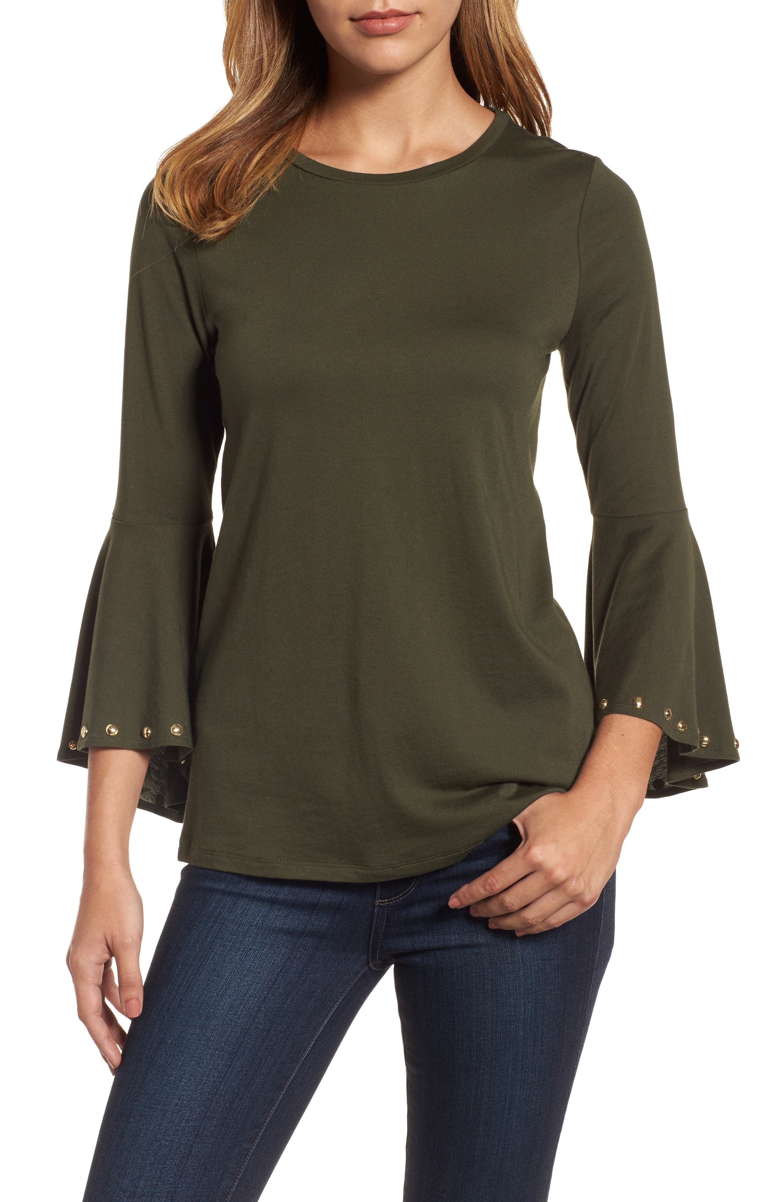High/Low Bell Sleeve Top,                             Main thumbnail 1, color,                             Ivy