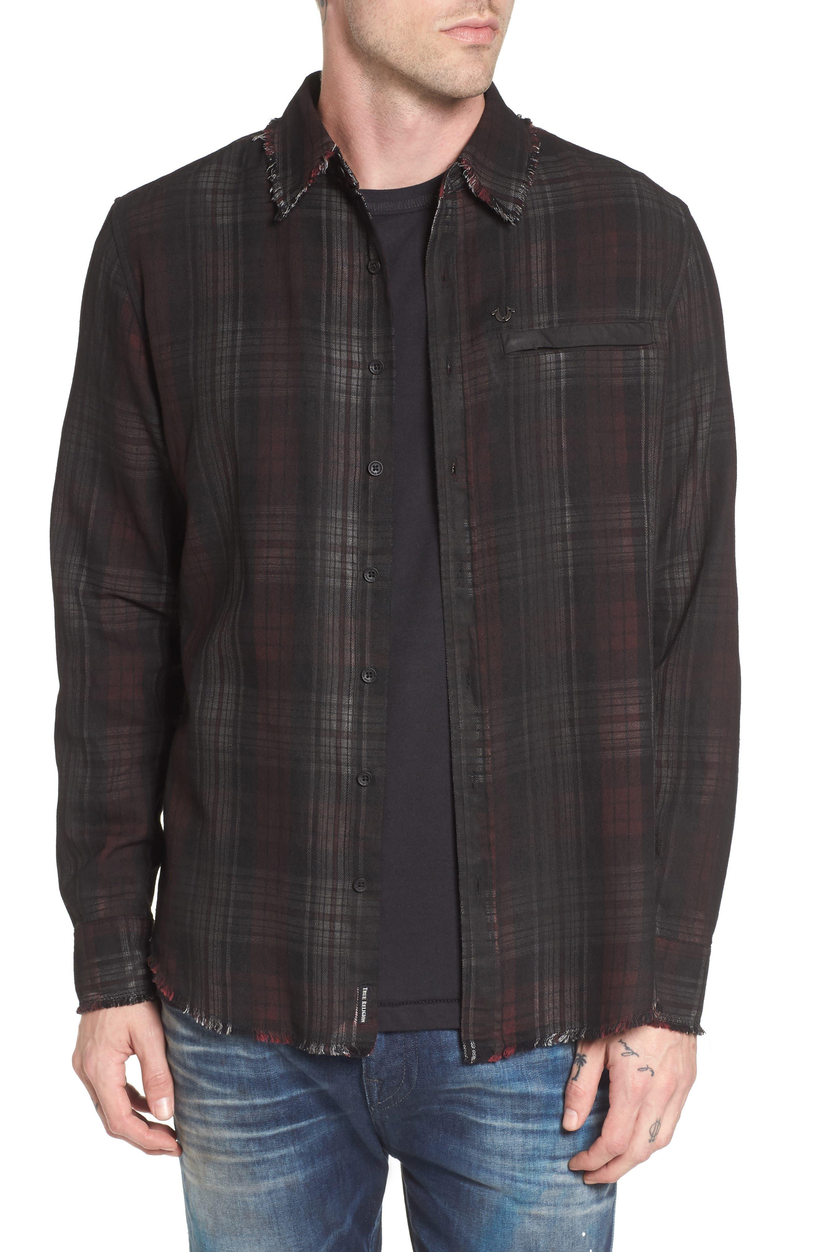 Coated Punk Woven Shirt,                         Main,                         color, Oxblood Plaid