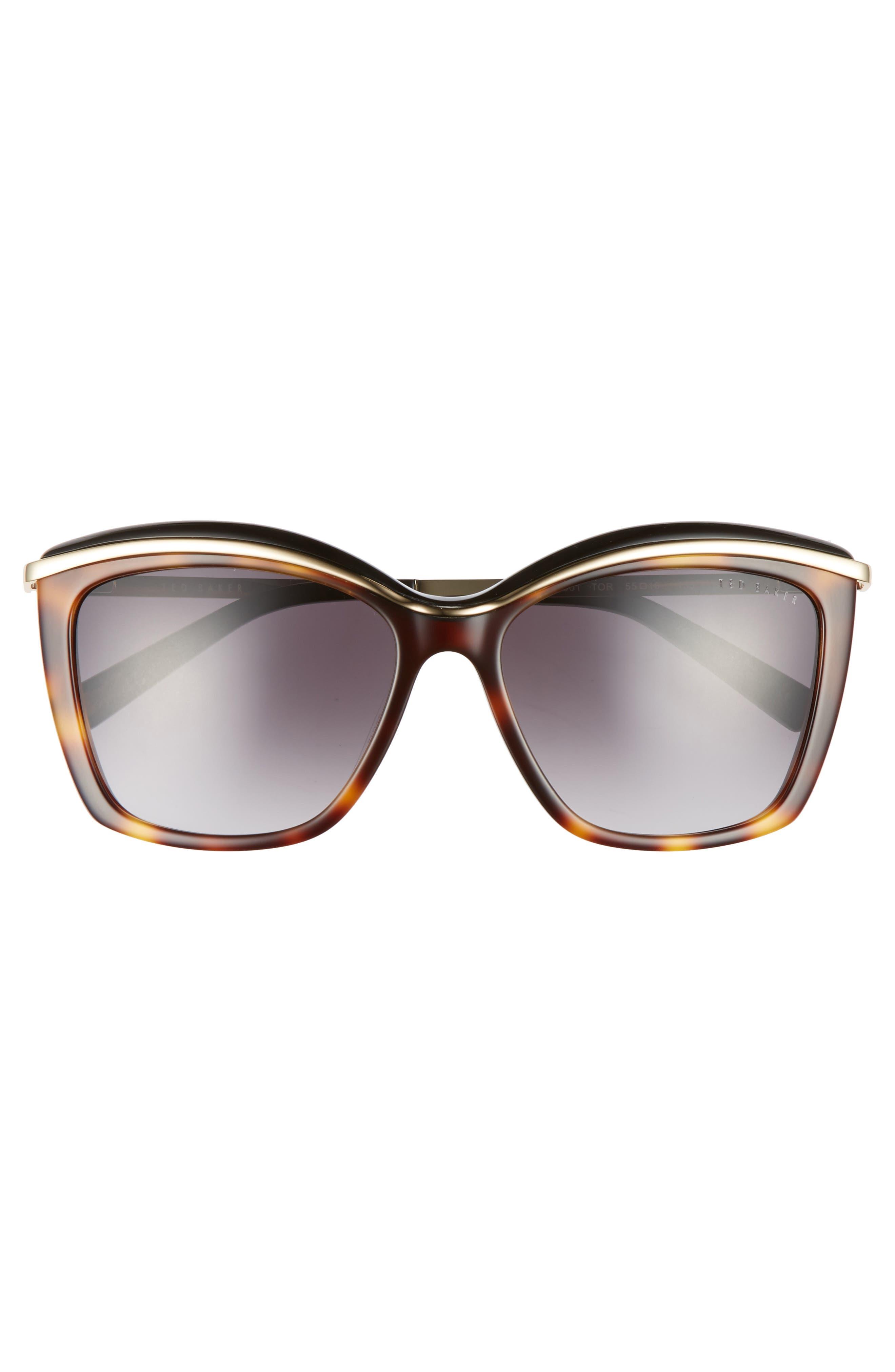 55mm Cat Eye Sunglasses,                             Alternate thumbnail 3, color,                             Tortoise
