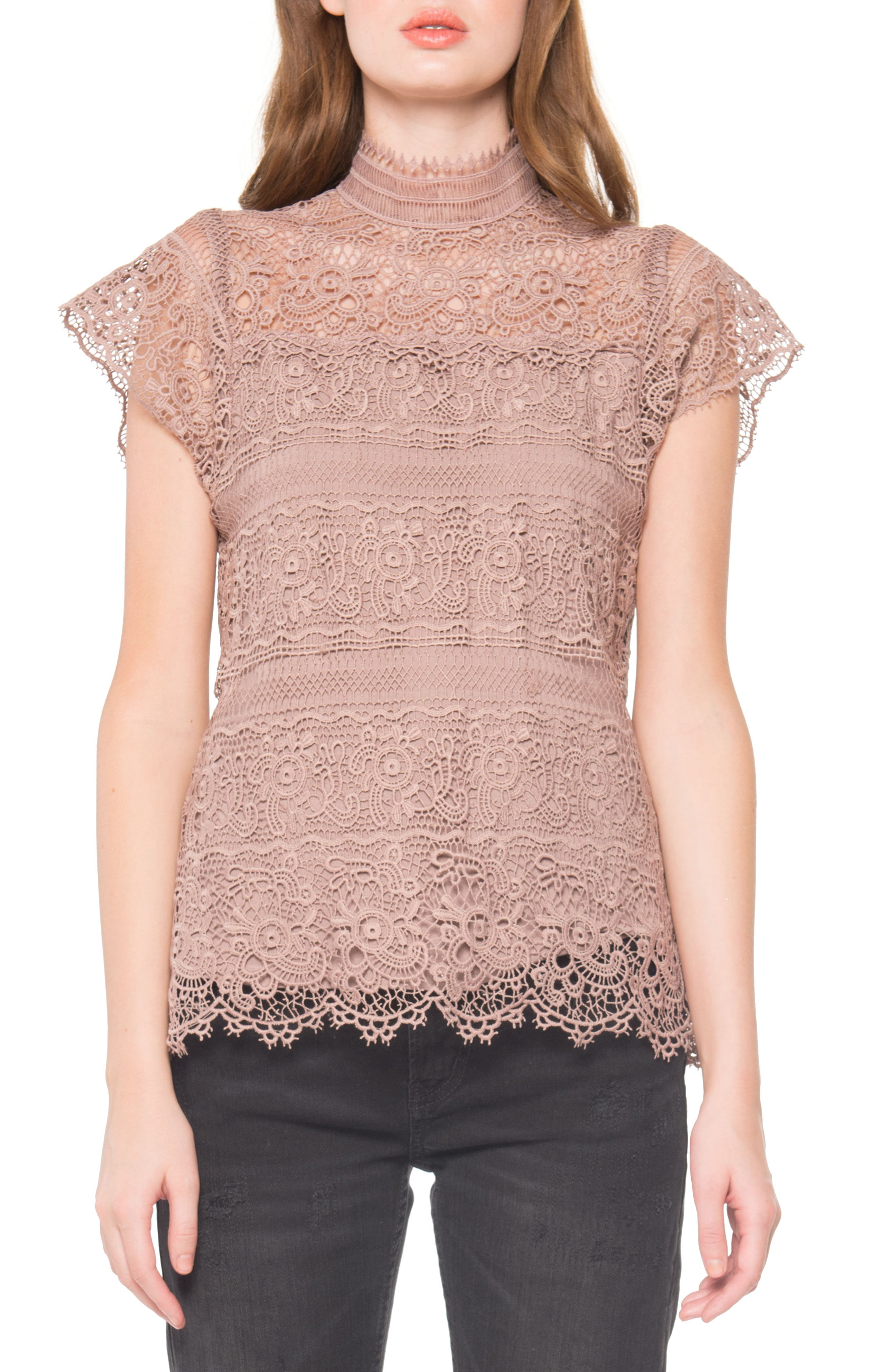 Main Image - Willow & Clay Lace Mock Neck Top