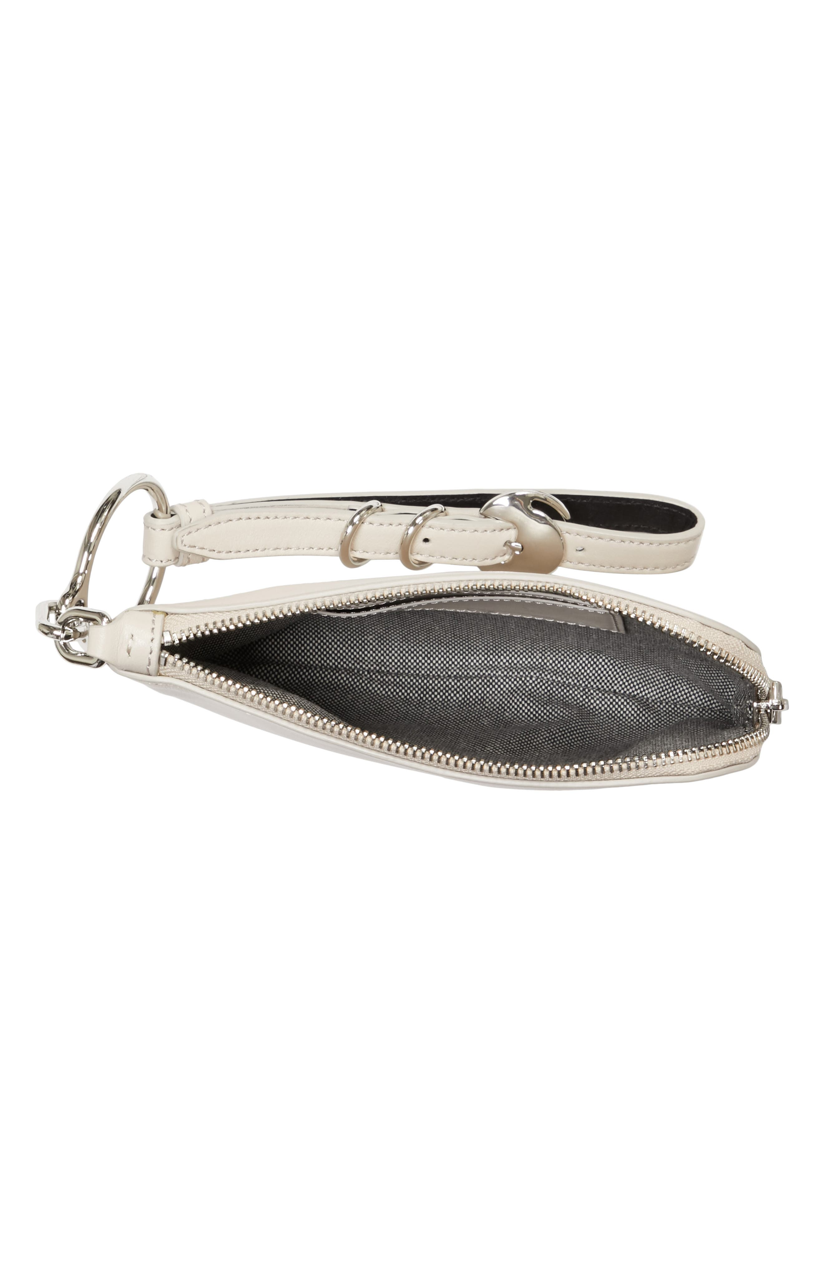 Small Ace Leather Wristlet,                             Alternate thumbnail 3, color,                             Smoke