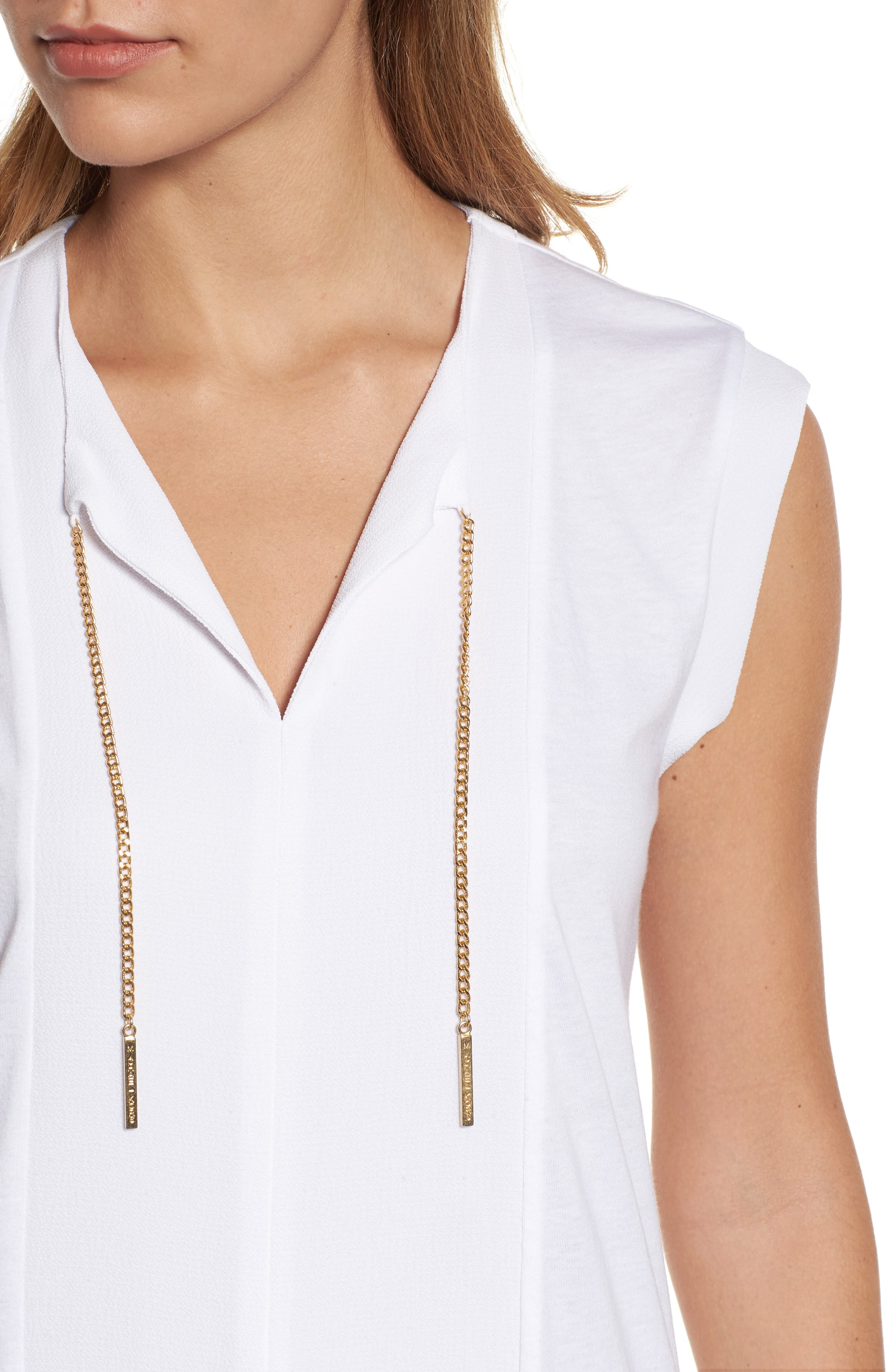 Chain Tie Top,                             Alternate thumbnail 4, color,                             White