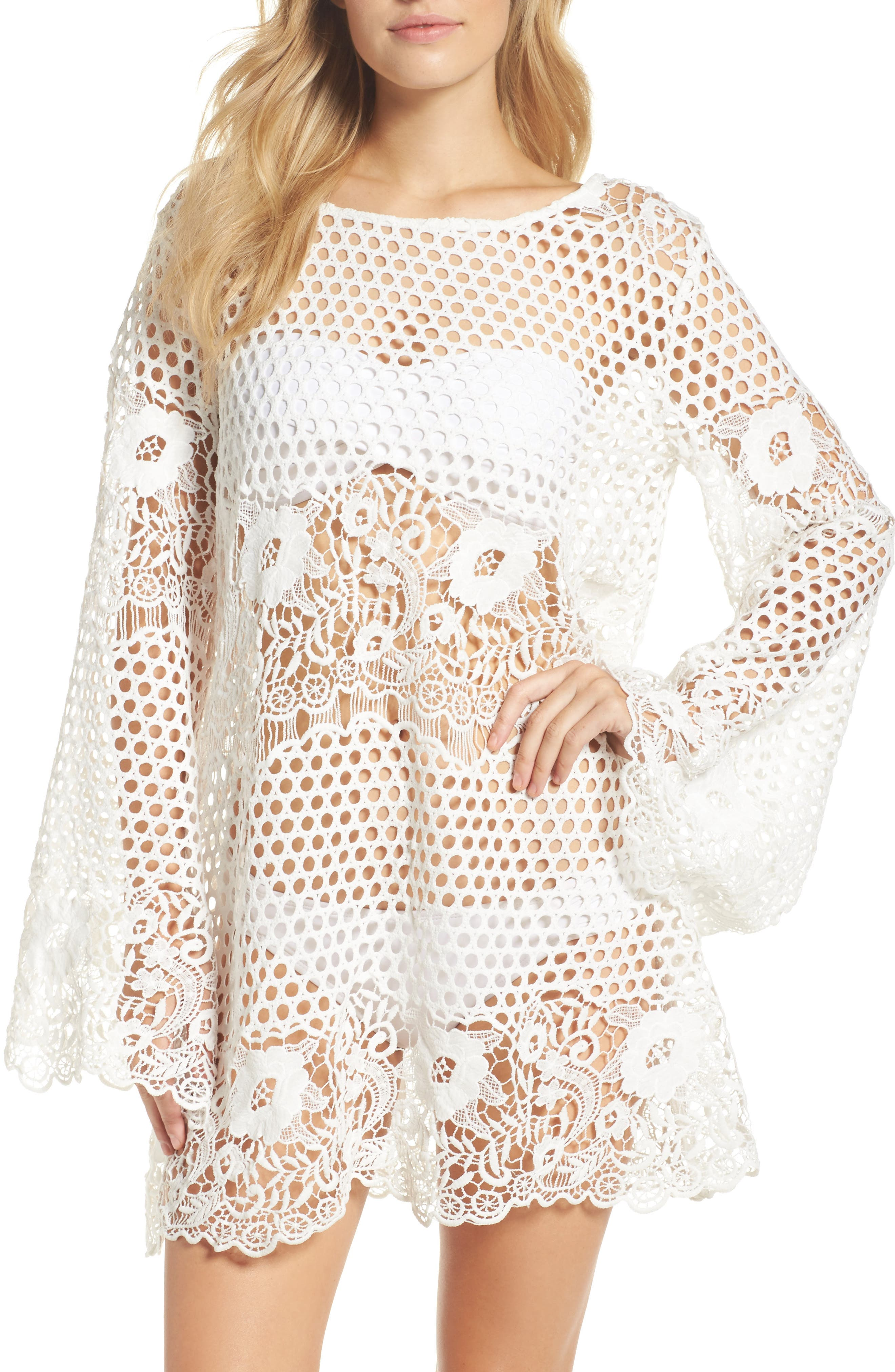 Crochet Cover-Up,                             Main thumbnail 1, color,                             White