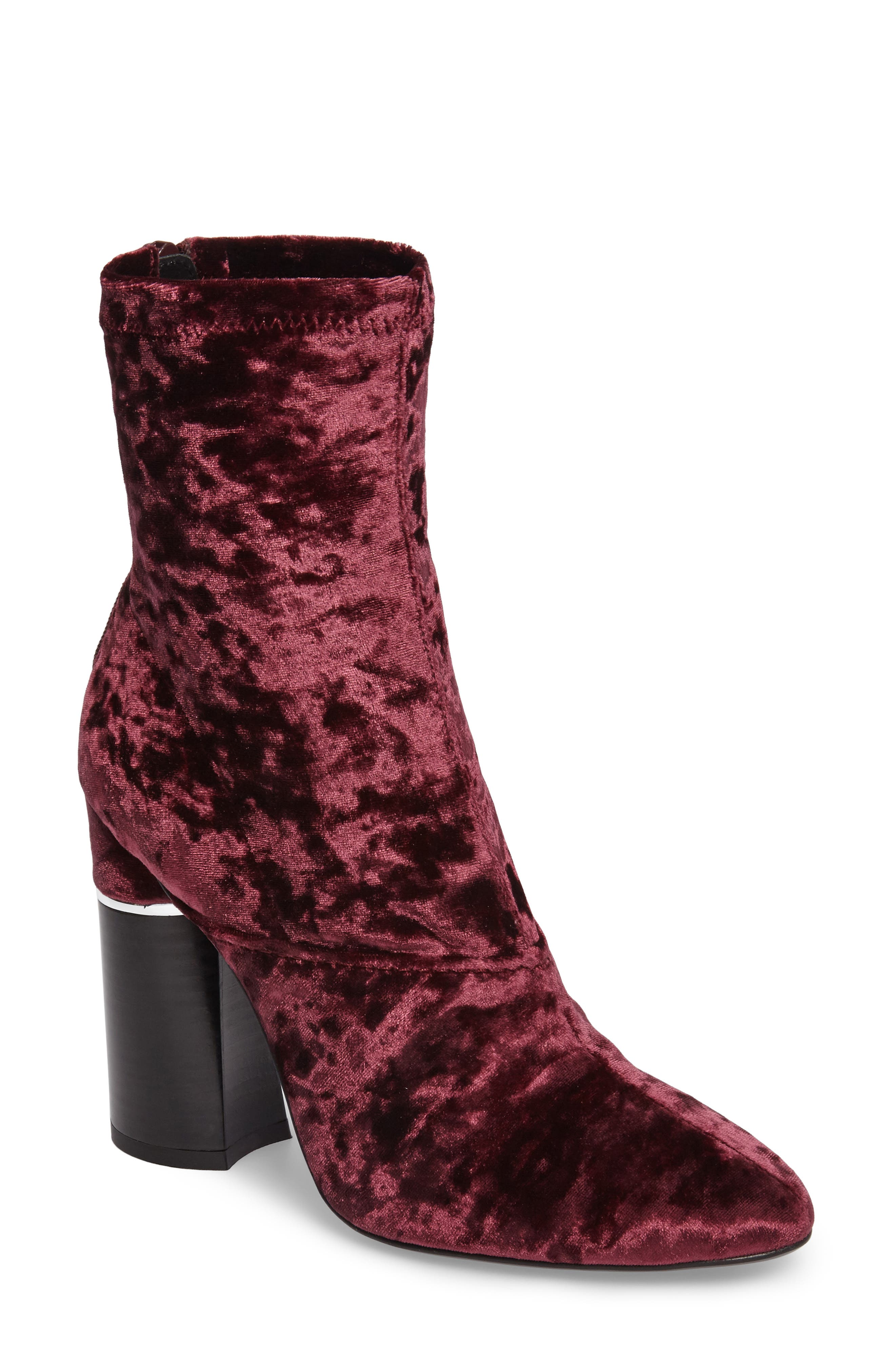 'Kyoto' Crushed Velvet Boot,                         Main,                         color, Syrah