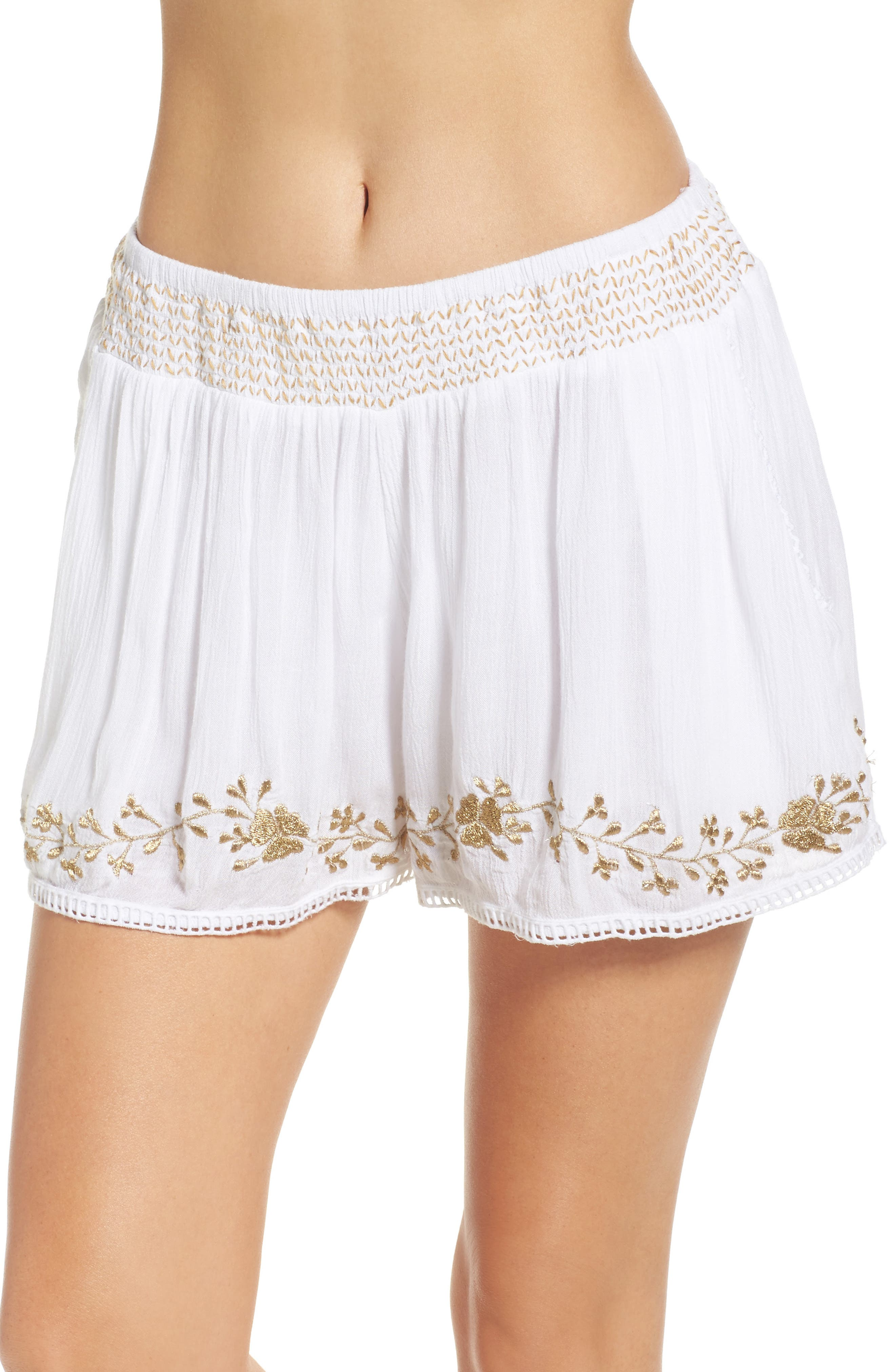 Muche at Muchette Cleopatra Shorts,                         Main,                         color, White/ Gold