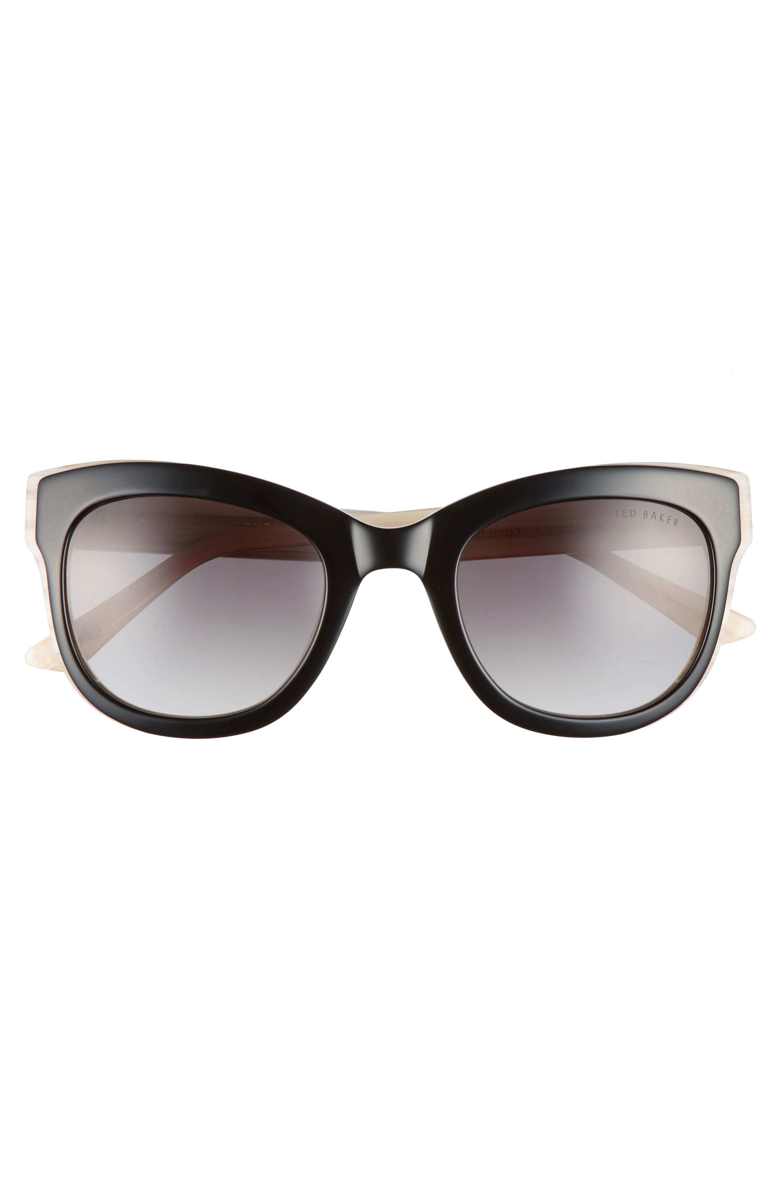 51mm Square Cat Eye Sunglasses,                             Alternate thumbnail 3, color,                             Black
